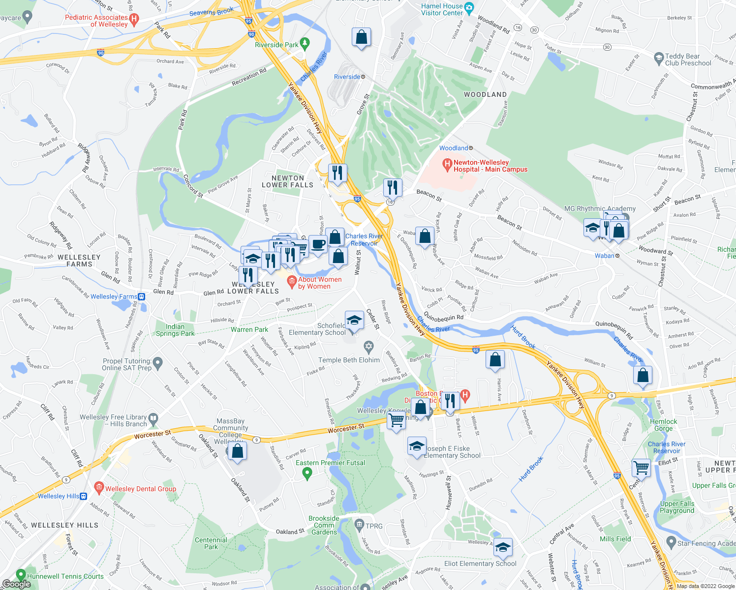 map of restaurants, bars, coffee shops, grocery stores, and more near 102 Cedar Street in Wellesley