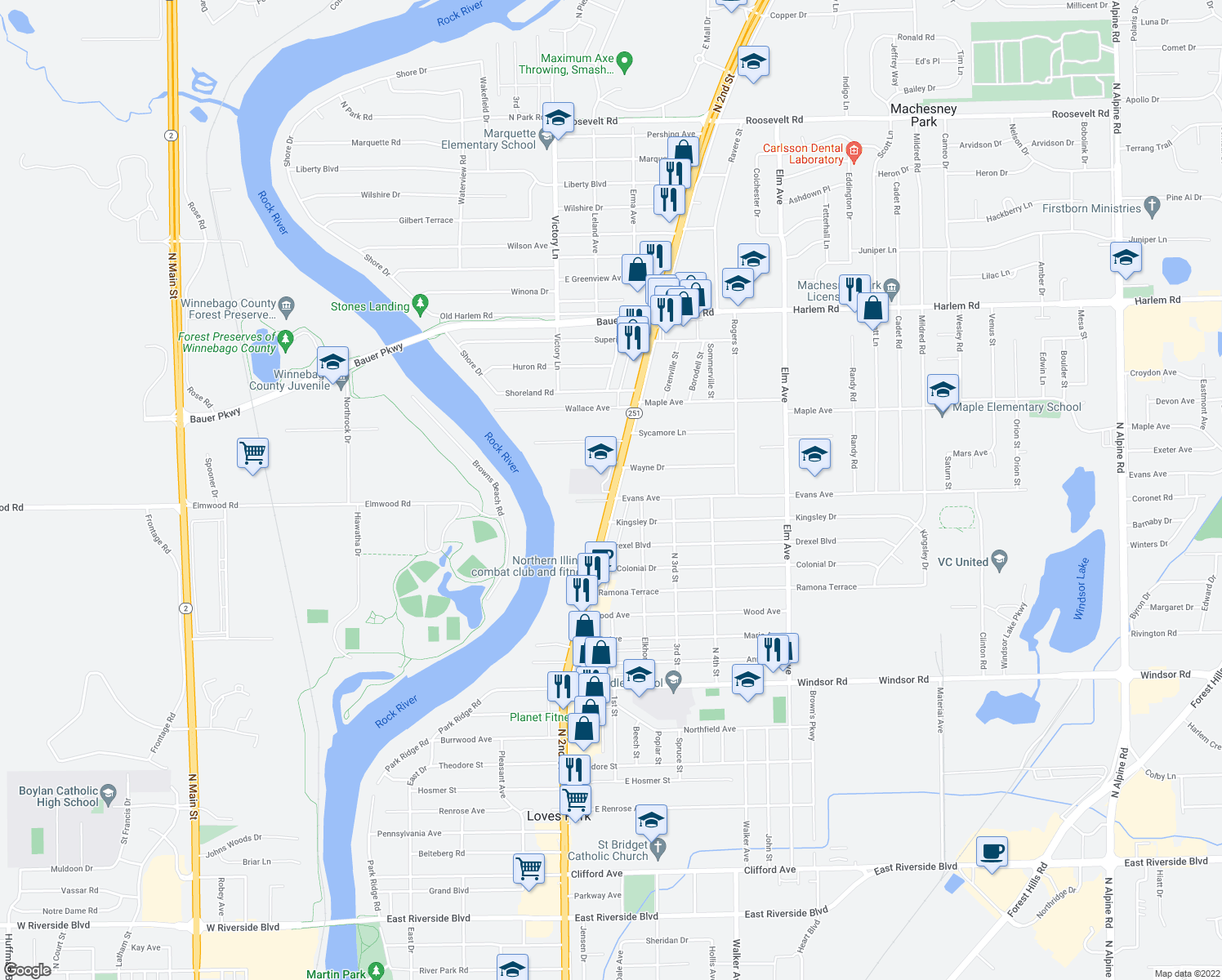 map of restaurants, bars, coffee shops, grocery stores, and more near 7424-7598 Frontage Road in Machesney Park