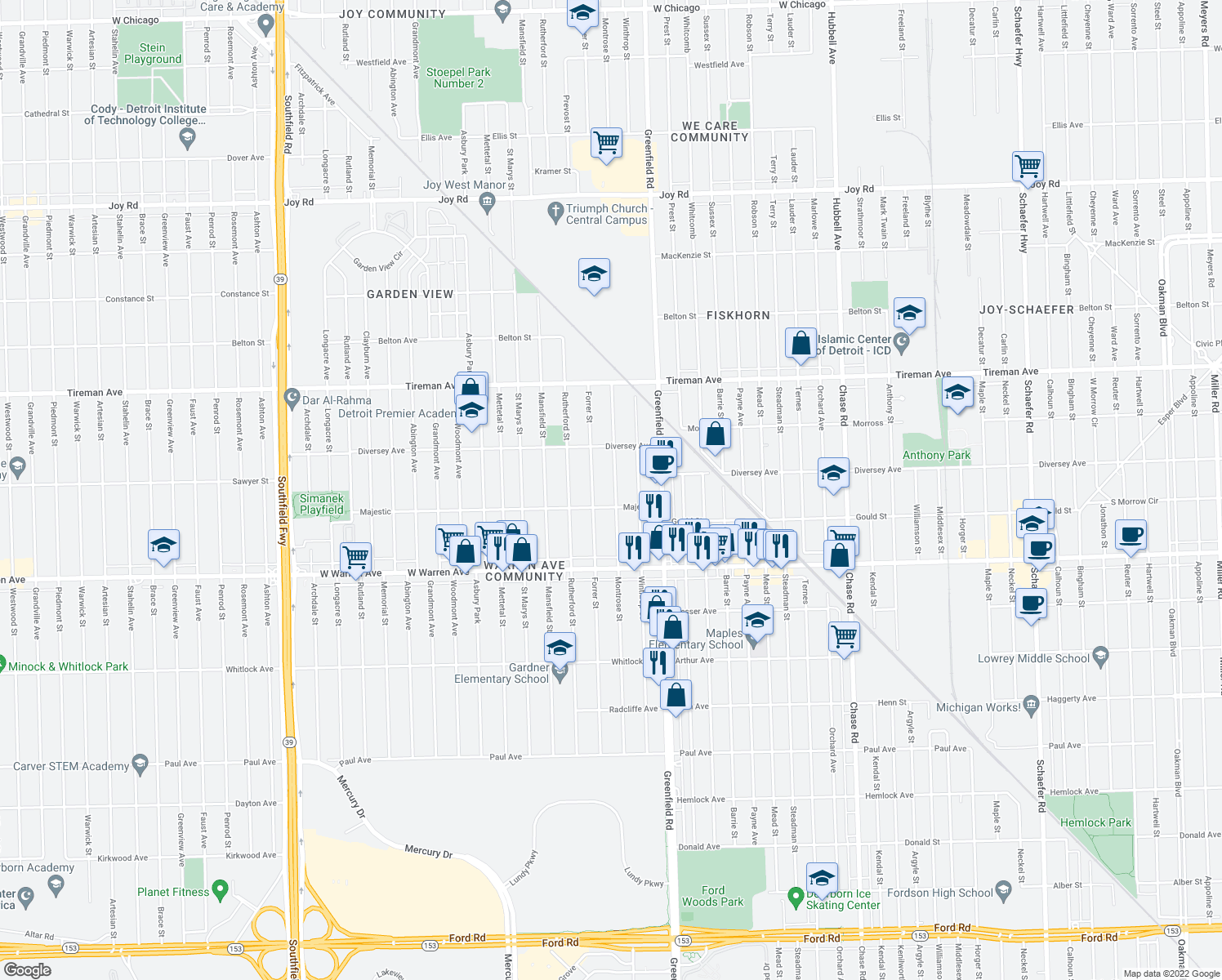 map of restaurants, bars, coffee shops, grocery stores, and more near 7443 Montrose Street in Detroit