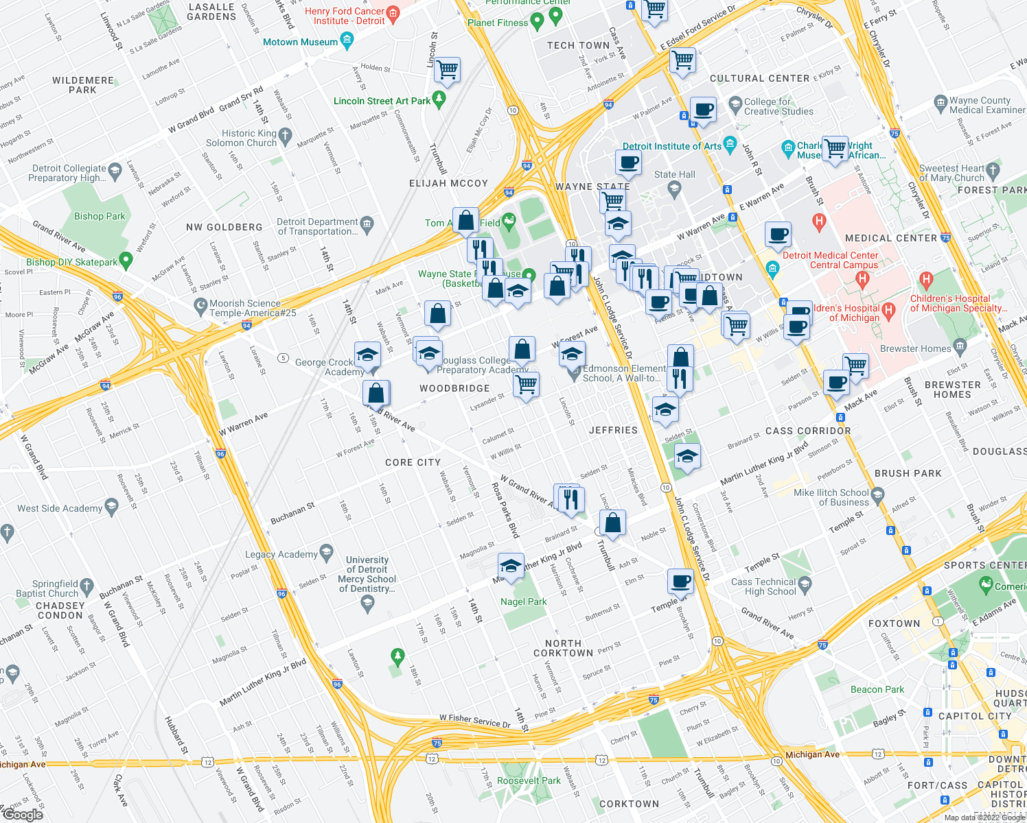 map of restaurants, bars, coffee shops, grocery stores, and more near 1615 W Canfield St in Detroit