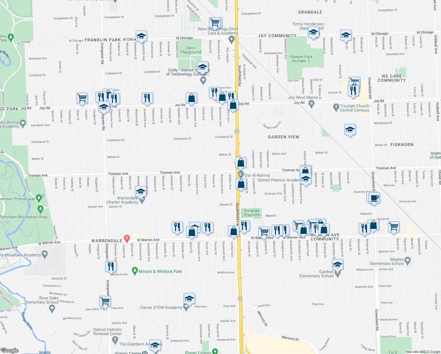 map of restaurants, bars, coffee shops, grocery stores, and more near 7813 Rosemont Avenue in Detroit