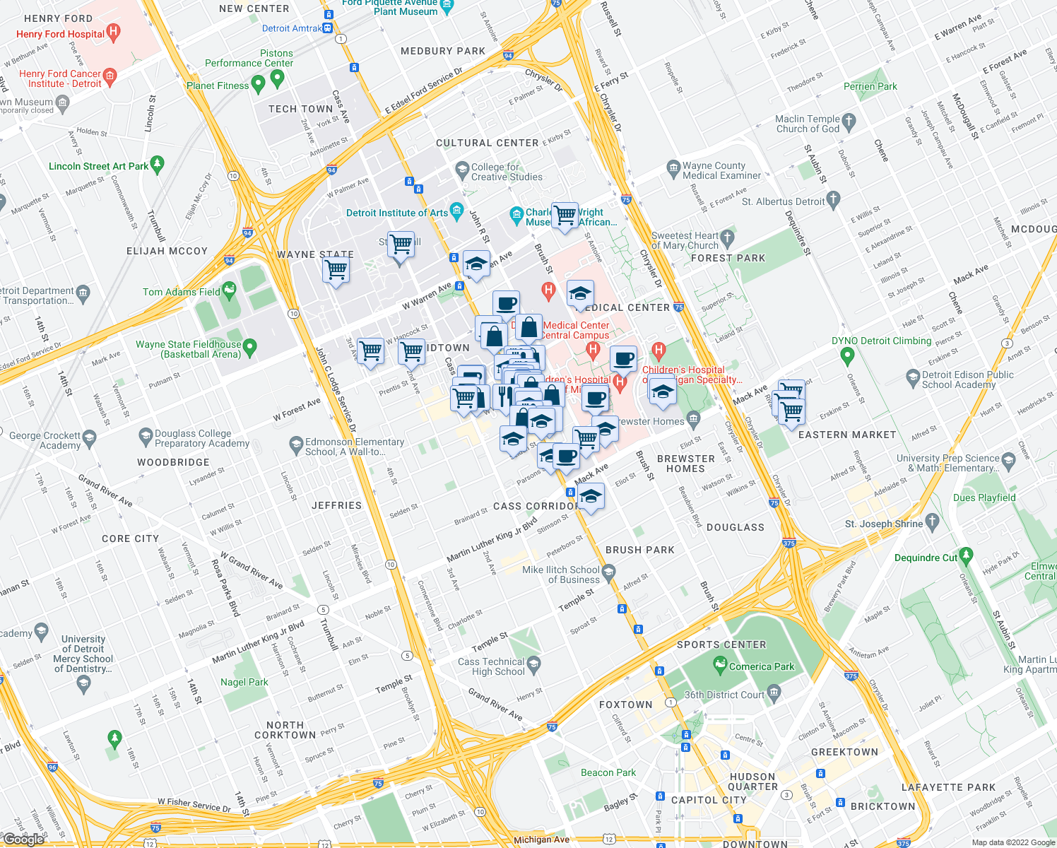 map of restaurants, bars, coffee shops, grocery stores, and more near 3965 Woodward Ave in Detroit