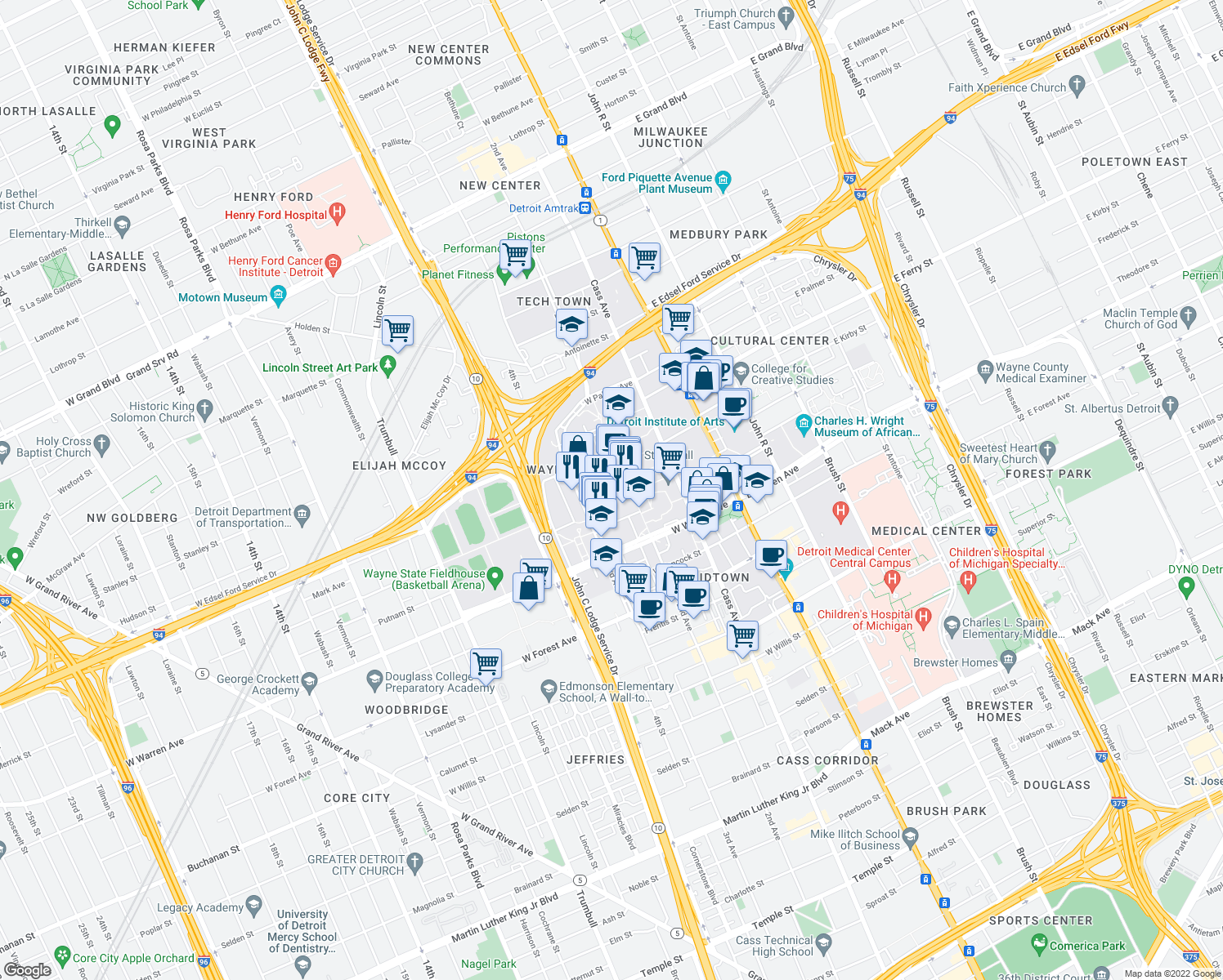 map of restaurants, bars, coffee shops, grocery stores, and more near 630 Merrick Street in Detroit