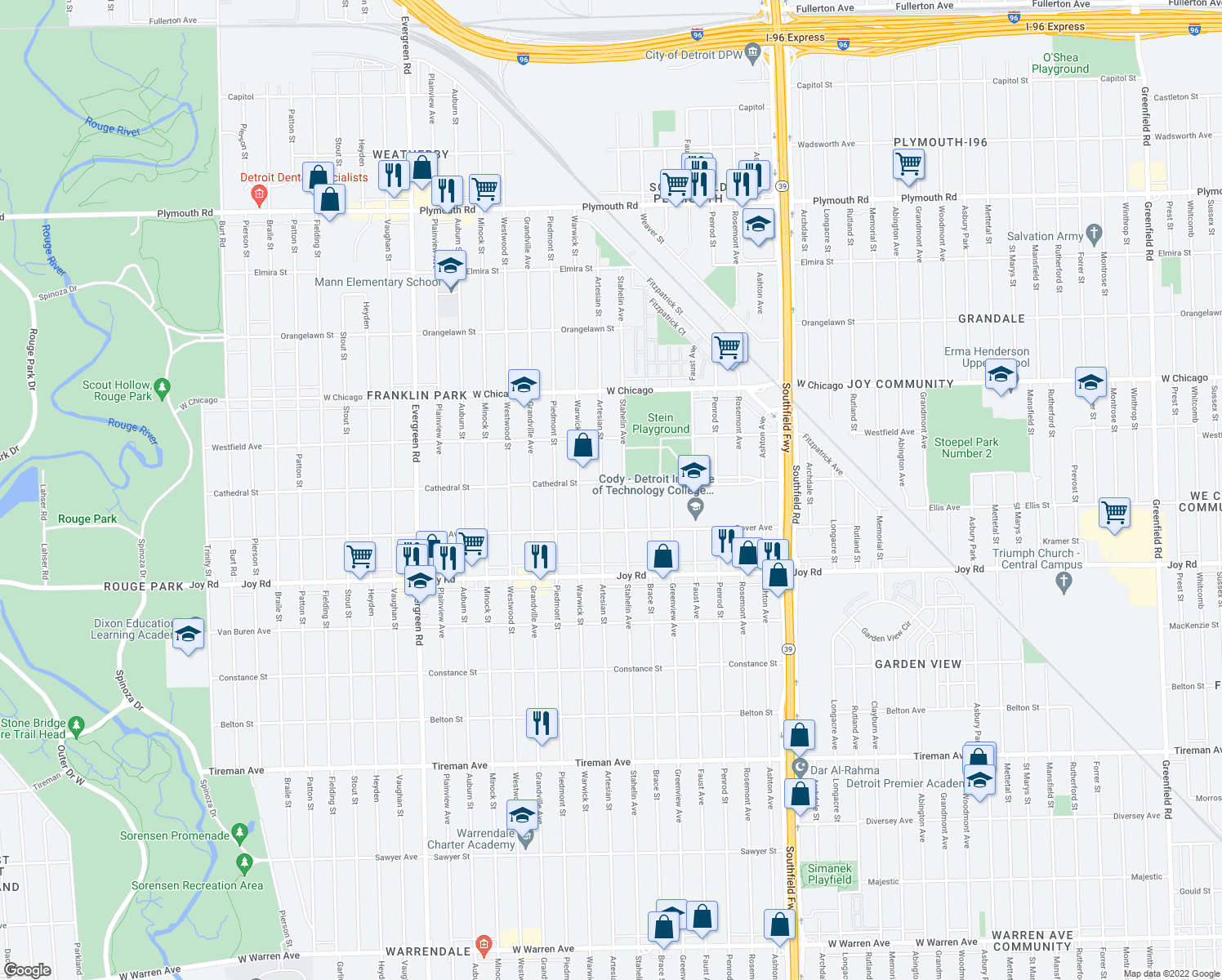 map of restaurants, bars, coffee shops, grocery stores, and more near 9106 Artesian Street in Detroit