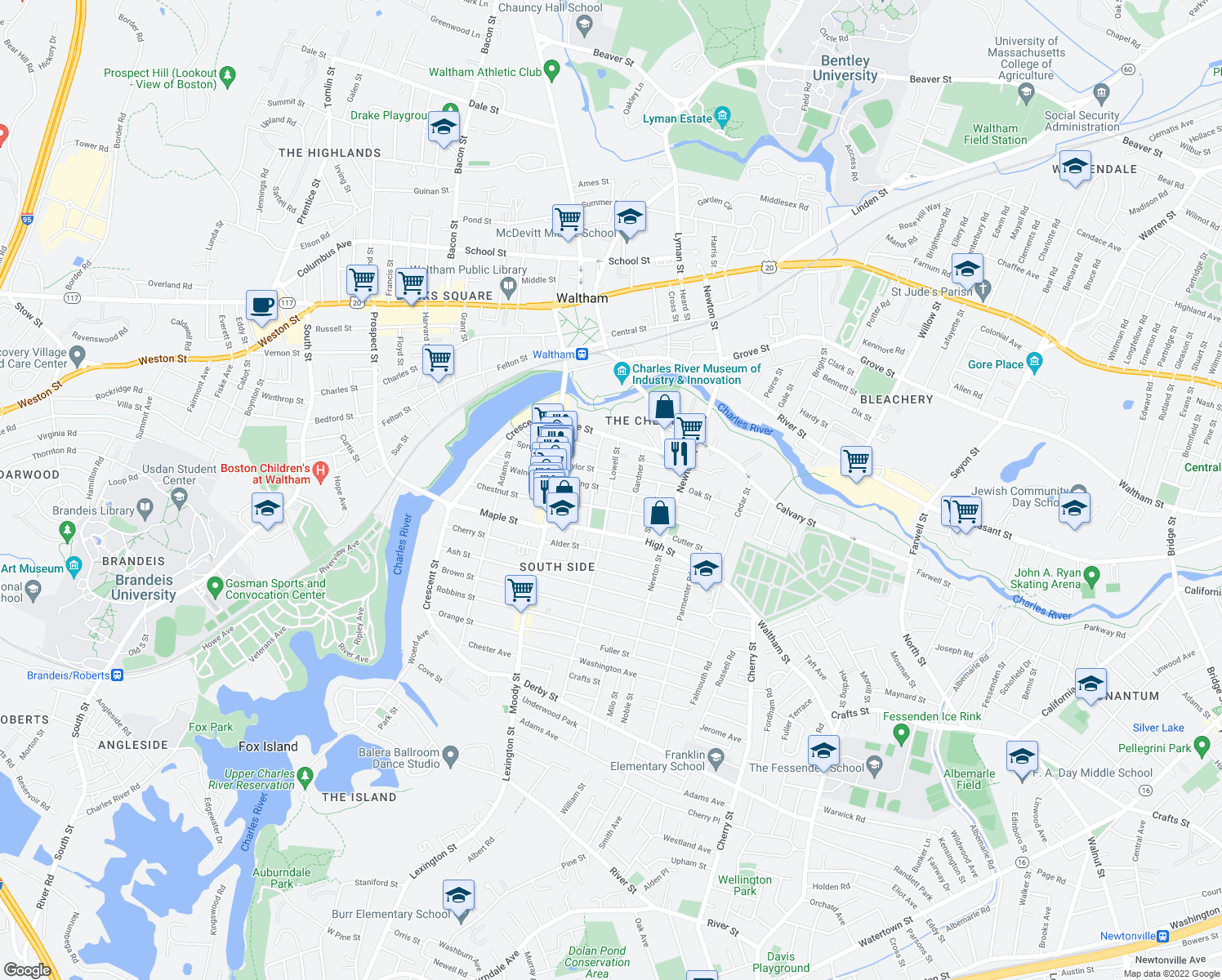 map of restaurants, bars, coffee shops, grocery stores, and more near Cushing Street in Waltham