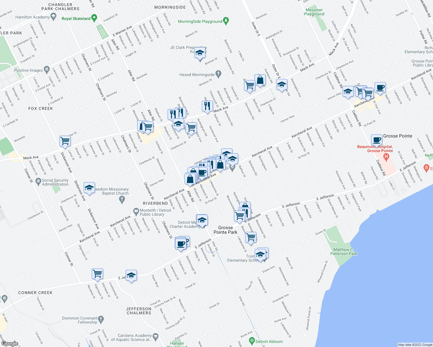 map of restaurants, bars, coffee shops, grocery stores, and more near Kercheval Street & Beaconsfield Avenue in Grosse Pointe Park