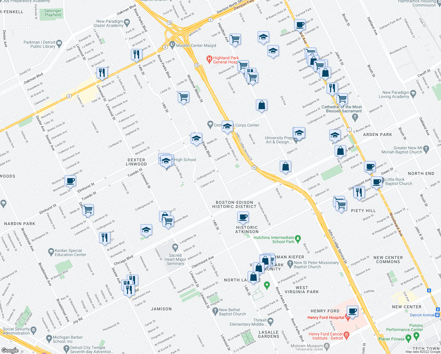 map of restaurants, bars, coffee shops, grocery stores, and more near 12th St & Calvert St in Detroit