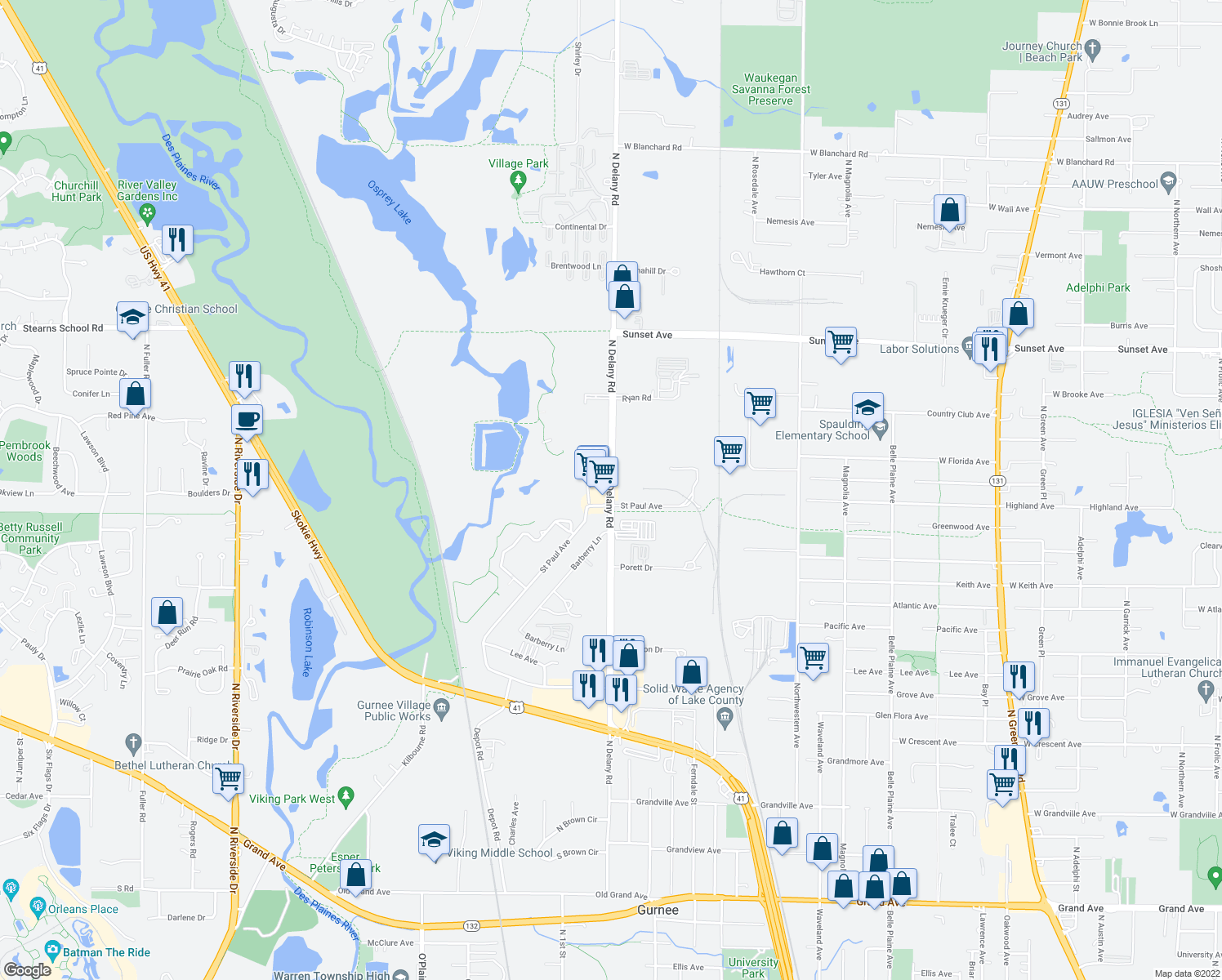 map of restaurants, bars, coffee shops, grocery stores, and more near 2098-2014 N Delany Rd in Gurnee