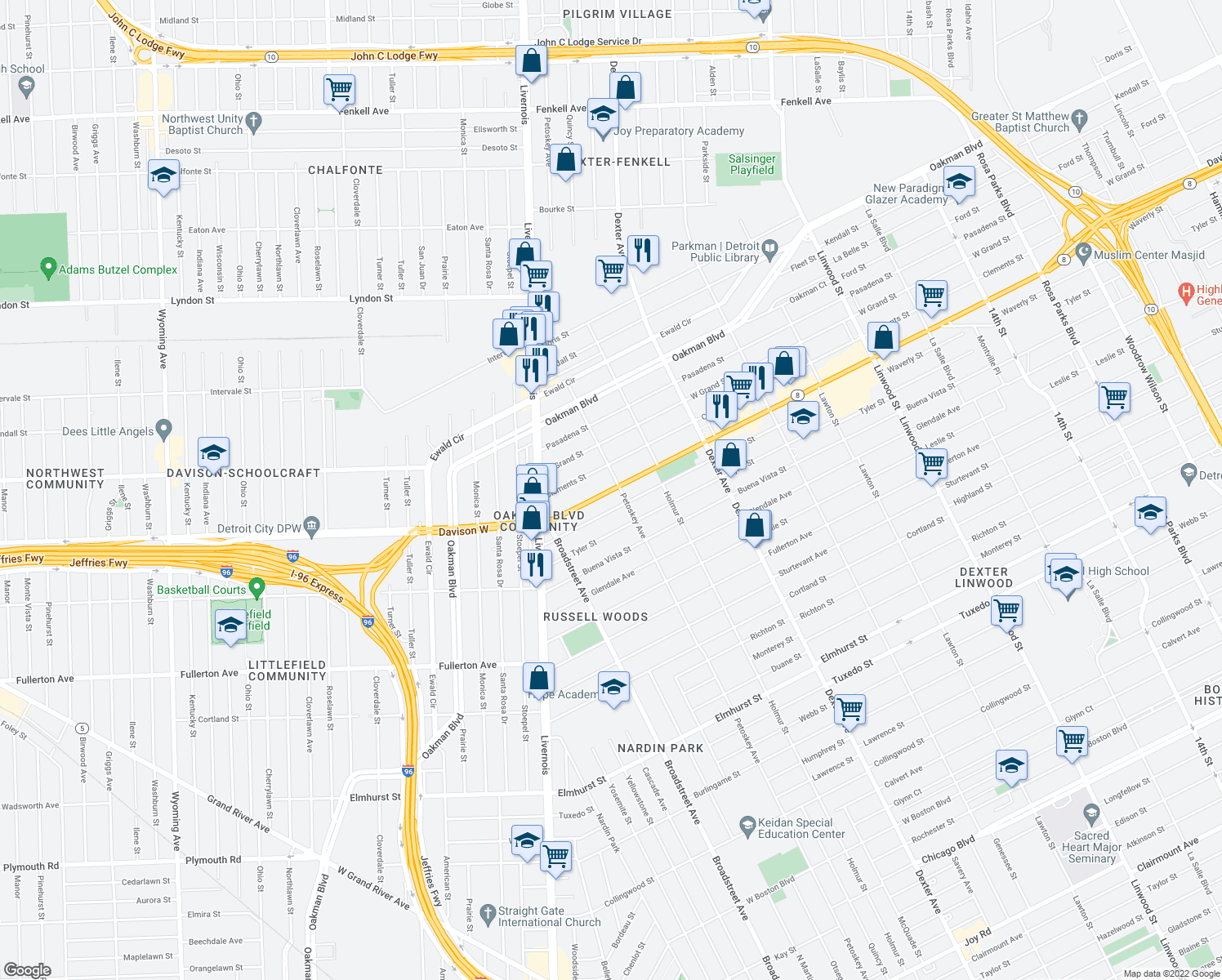 map of restaurants, bars, coffee shops, grocery stores, and more near 4256 W Davison St in Detroit