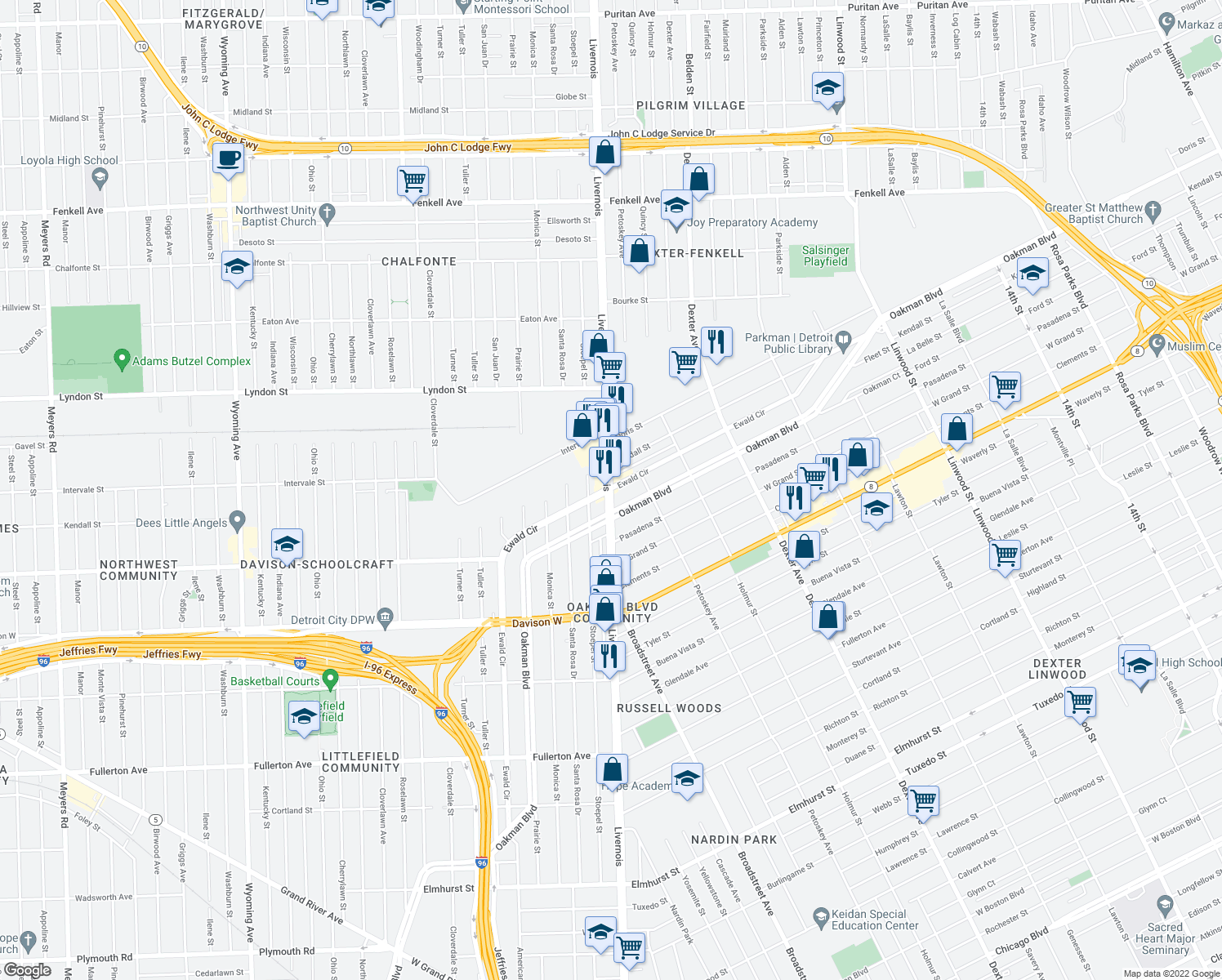 map of restaurants, bars, coffee shops, grocery stores, and more near Ewald Cir in Detroit