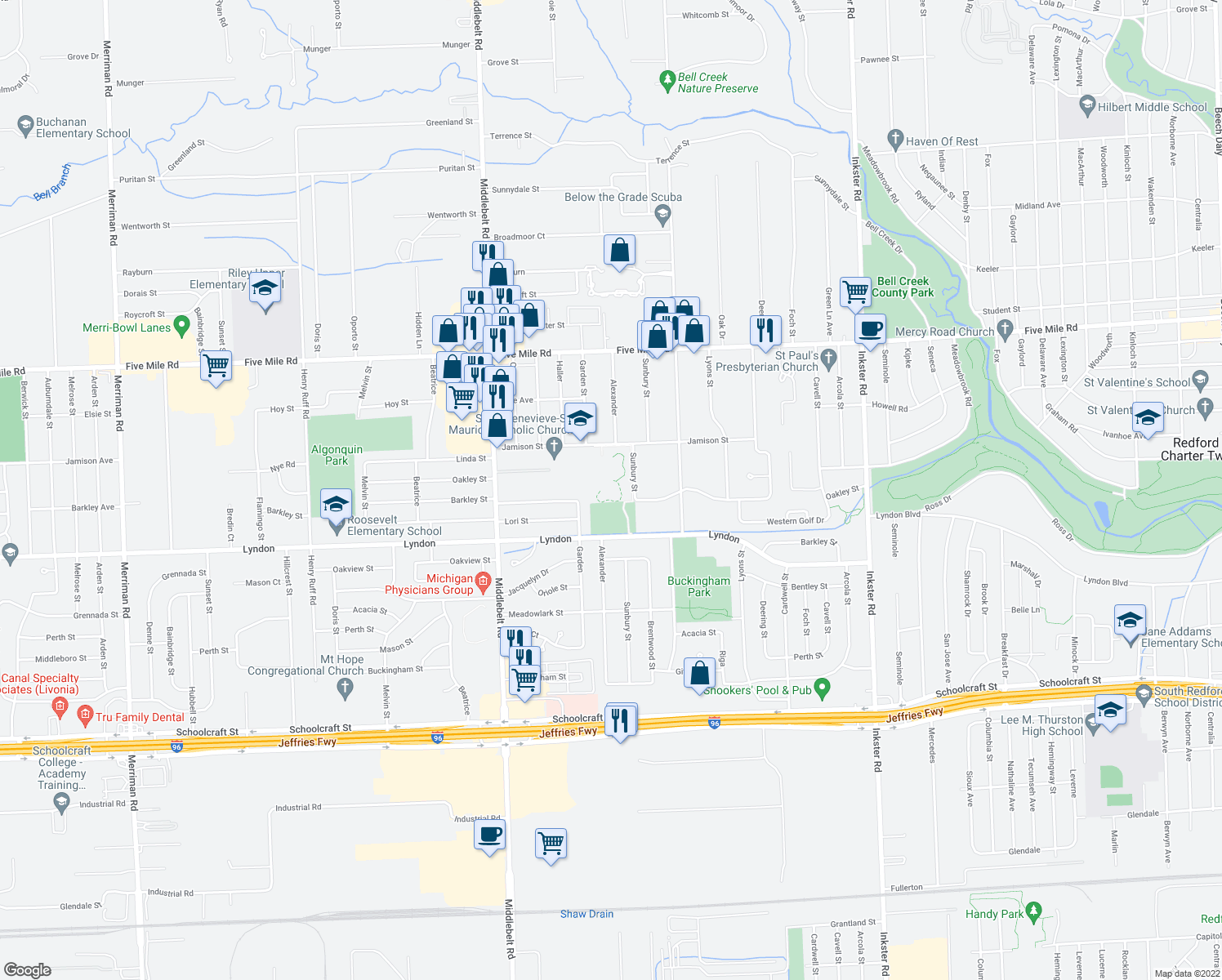 map of restaurants, bars, coffee shops, grocery stores, and more near 28815 Jamison Street in Livonia