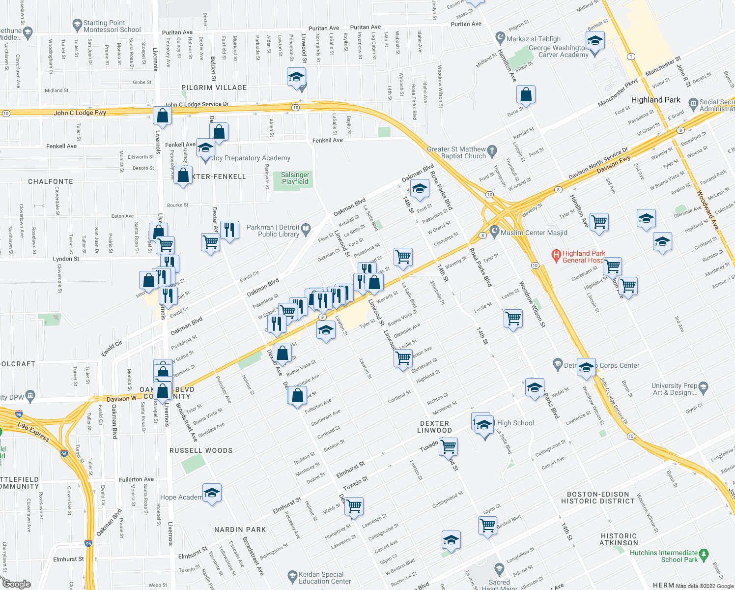 map of restaurants, bars, coffee shops, grocery stores, and more near W Davison St & Linwood in Detroit