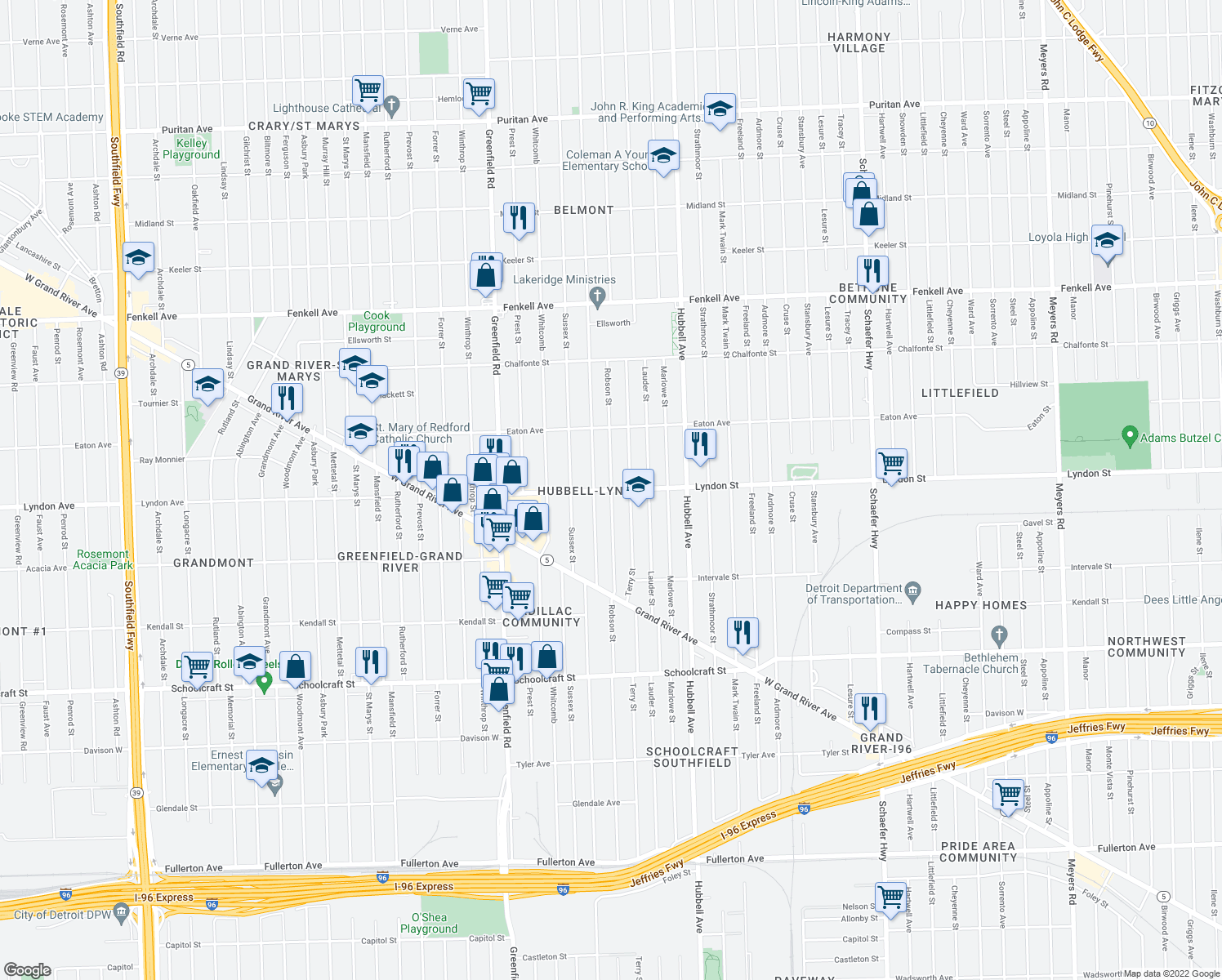map of restaurants, bars, coffee shops, grocery stores, and more near Robson Street in Detroit