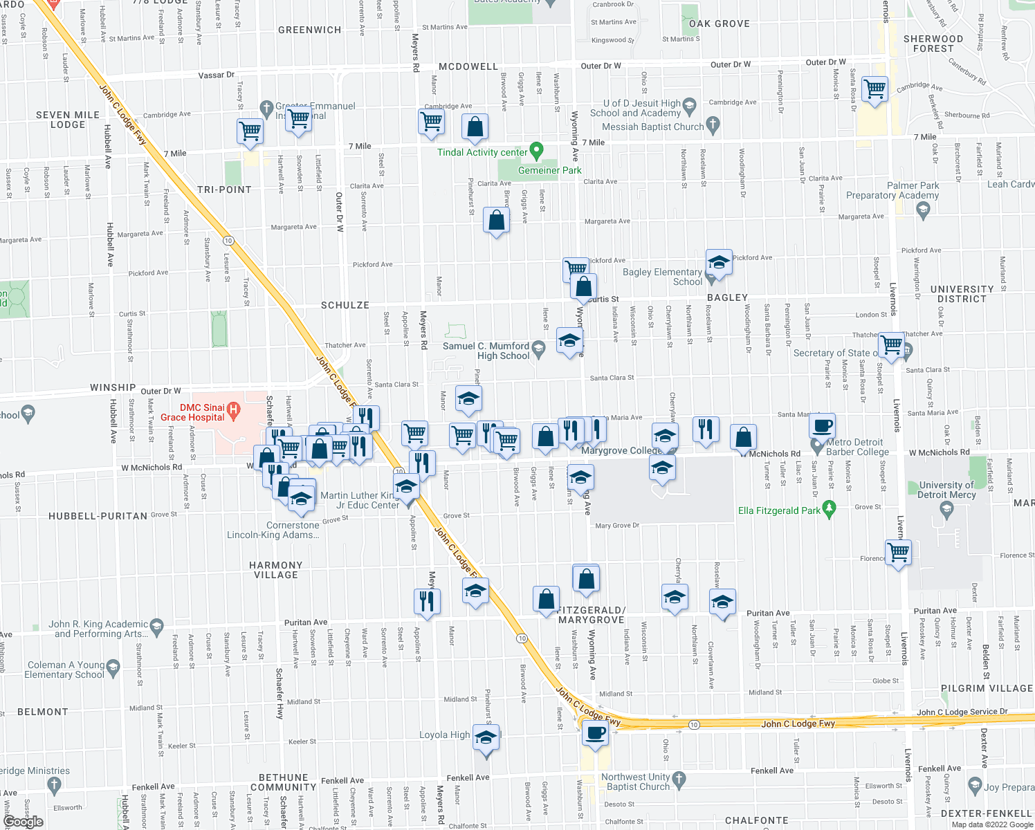 map of restaurants, bars, coffee shops, grocery stores, and more near 17310 Birwood St in Detroit