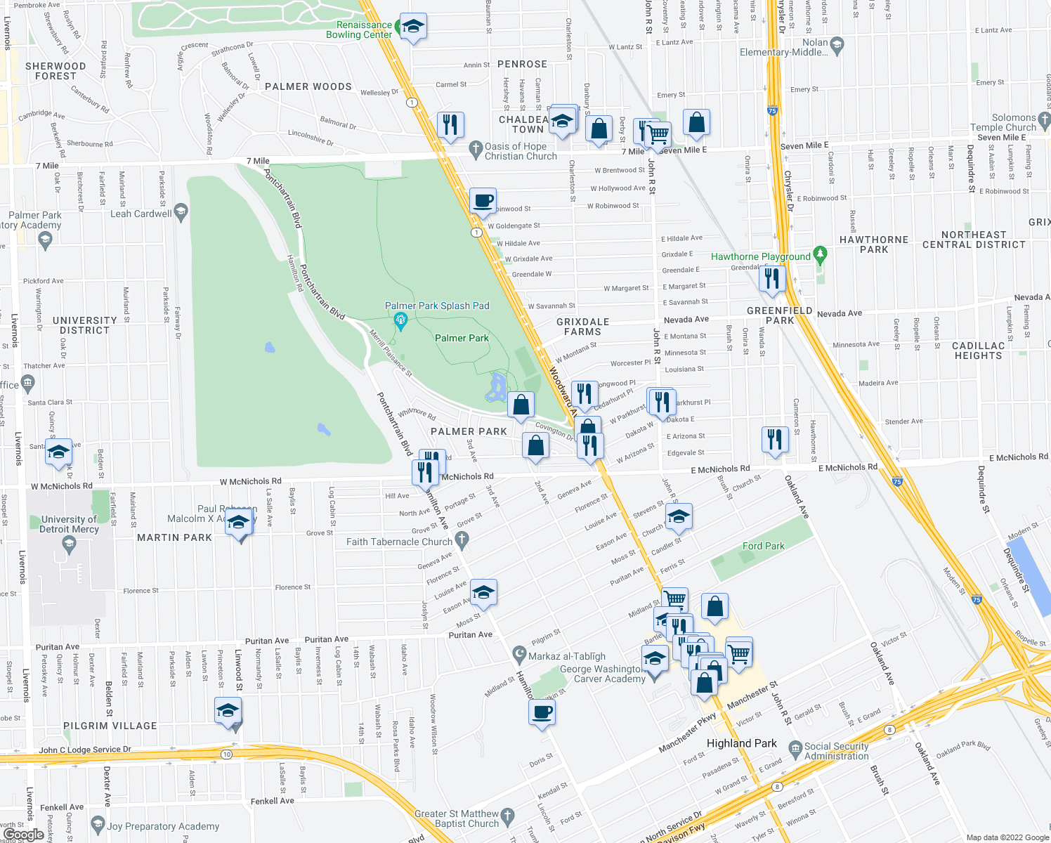 map of restaurants, bars, coffee shops, grocery stores, and more near 2nd Avenue & Covington Drive in Detroit