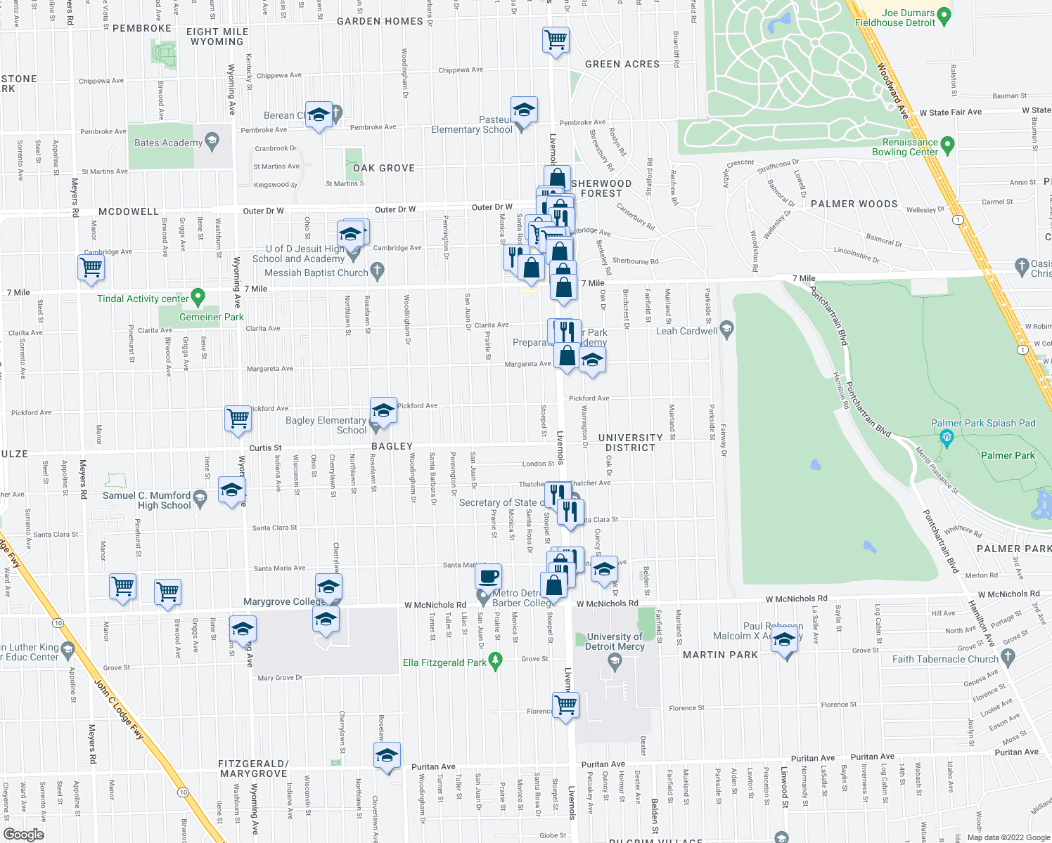 map of restaurants, bars, coffee shops, grocery stores, and more near 18307 Santa Rosa Drive in Detroit