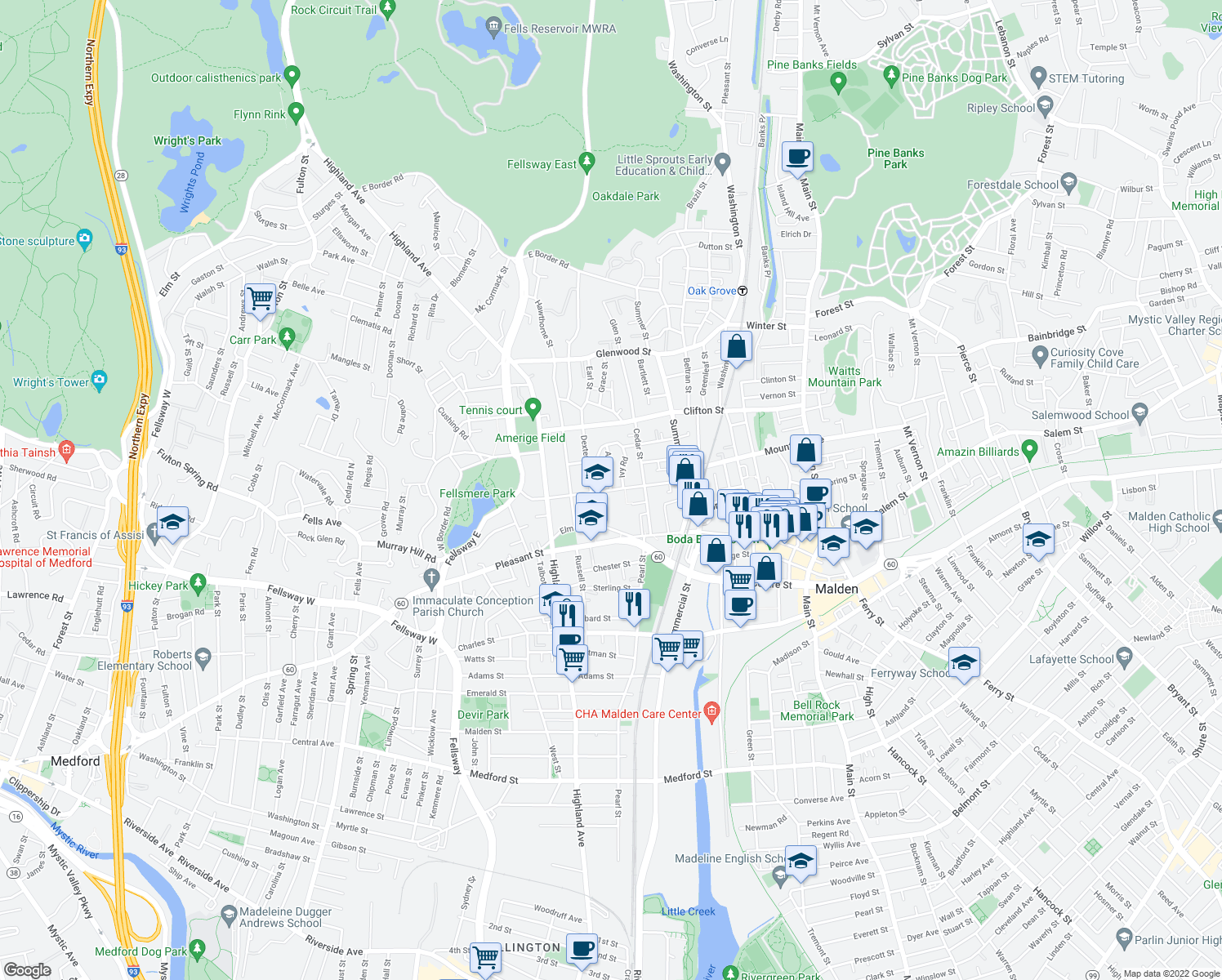 map of restaurants, bars, coffee shops, grocery stores, and more near Maple Street in Malden