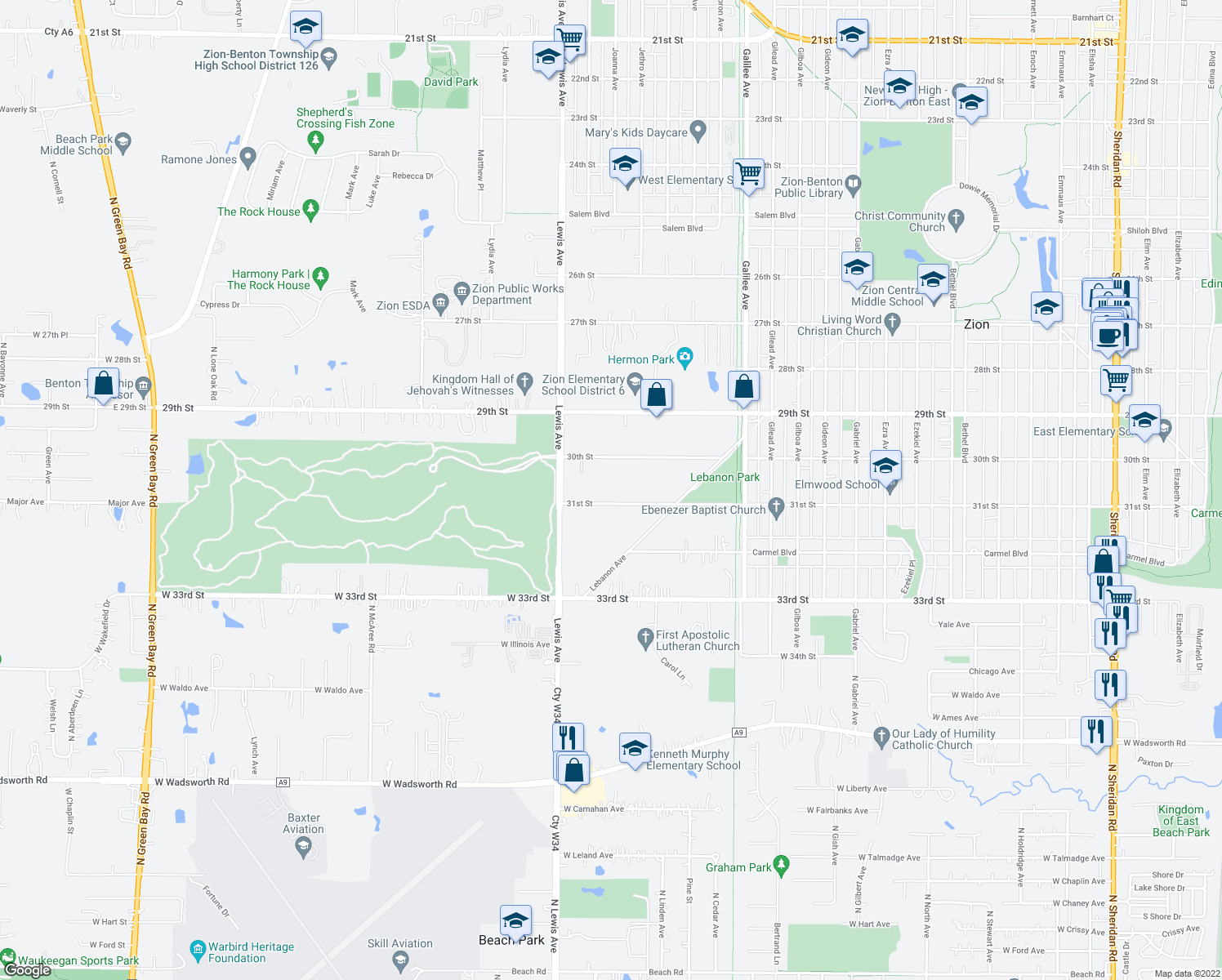 map of restaurants, bars, coffee shops, grocery stores, and more near 2904 31st Street in Zion