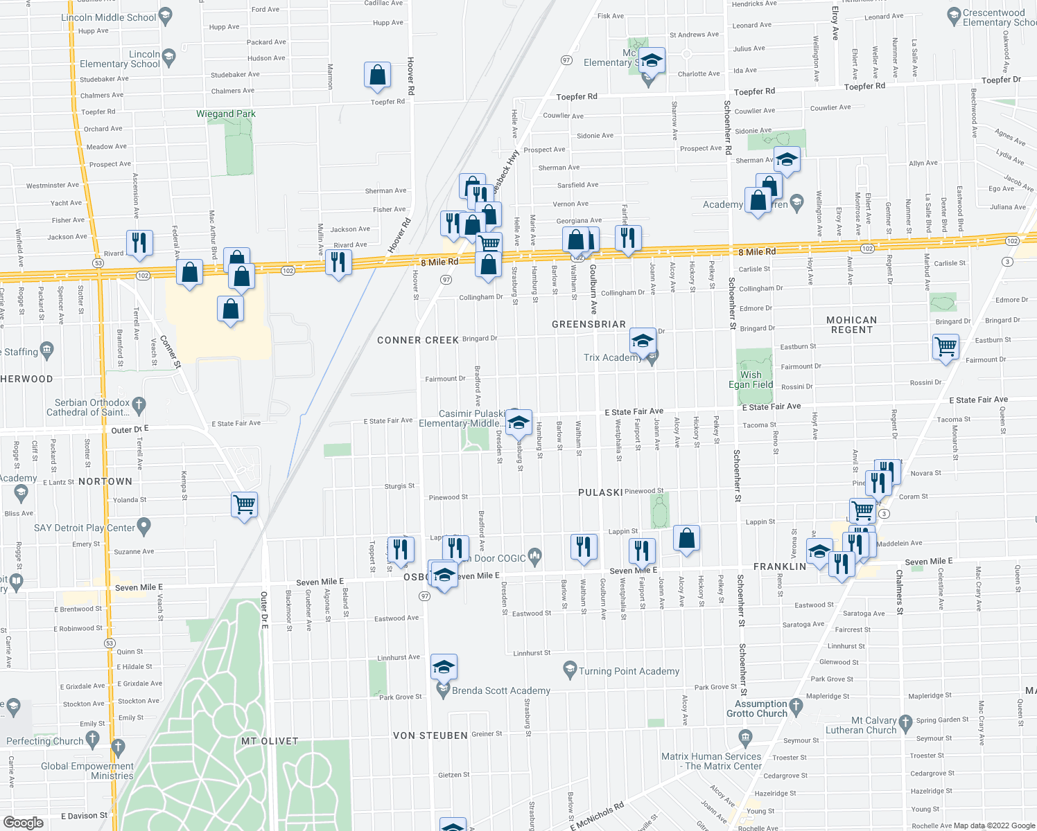 map of restaurants, bars, coffee shops, grocery stores, and more near E State Fair St & Strasburg Ave in Detroit