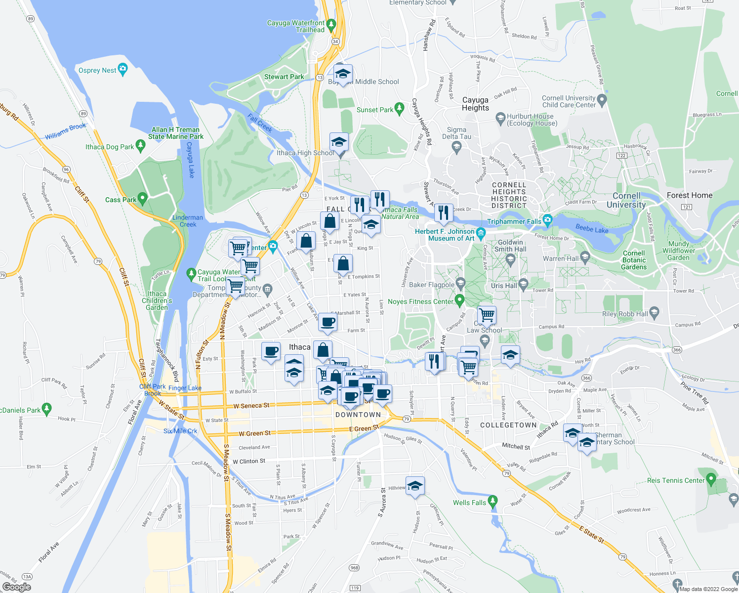 map of restaurants, bars, coffee shops, grocery stores, and more near 619 North Aurora Street in Ithaca