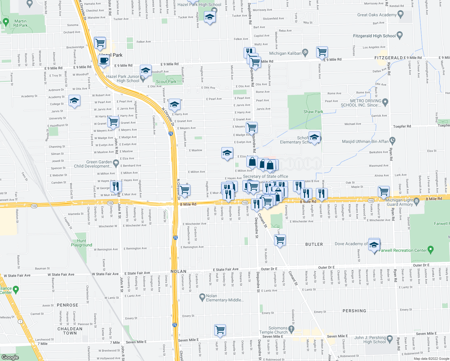 map of restaurants, bars, coffee shops, grocery stores, and more near 1544 E Hayes Ave in Hazel Park