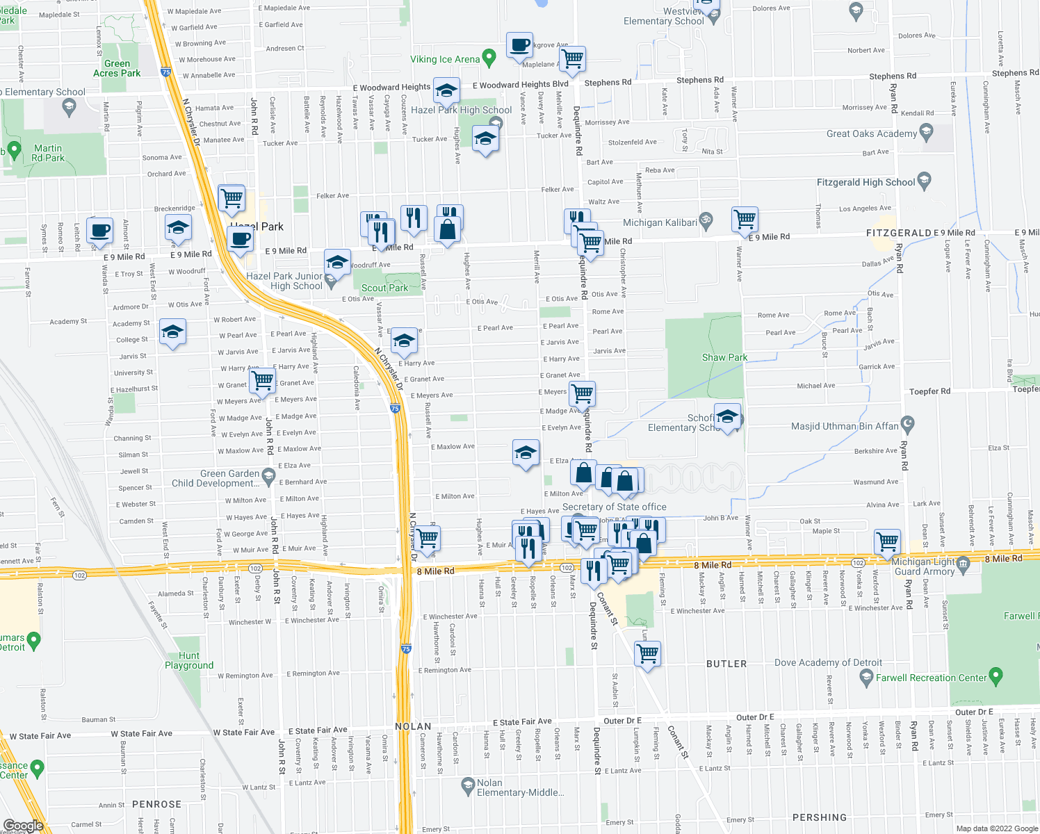 map of restaurants, bars, coffee shops, grocery stores, and more near 1558 East Madge Avenue in Hazel Park