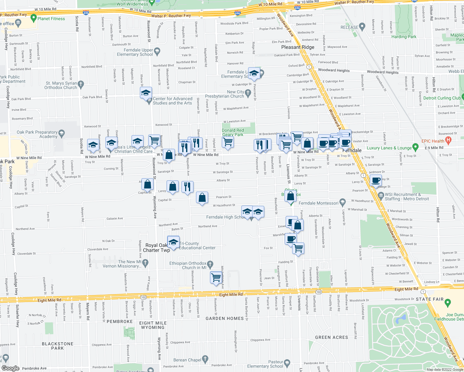 map of restaurants, bars, coffee shops, grocery stores, and more near 1406 Leroy St in Ferndale