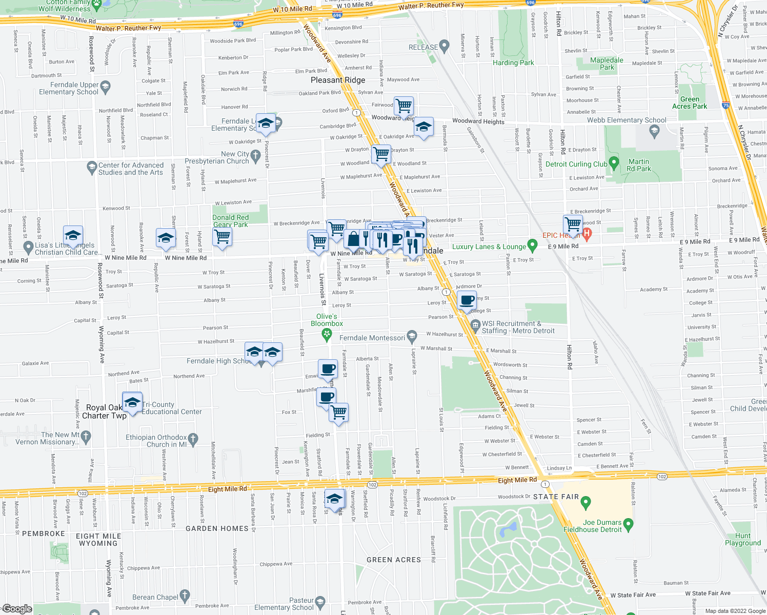 map of restaurants, bars, coffee shops, grocery stores, and more near 454 Leroy Street in Ferndale