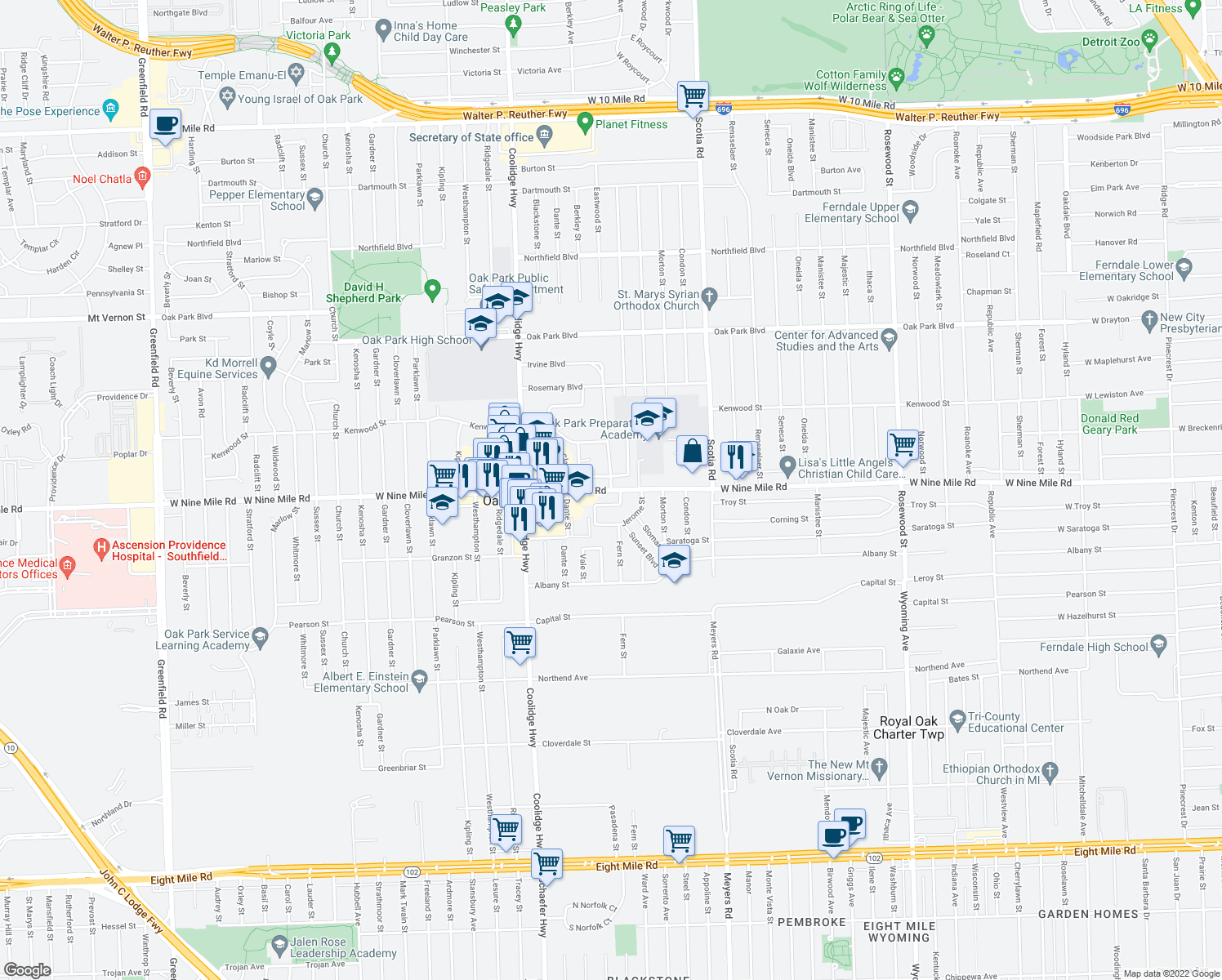 map of restaurants, bars, coffee shops, grocery stores, and more near W 9 Mile Rd in Oak Park