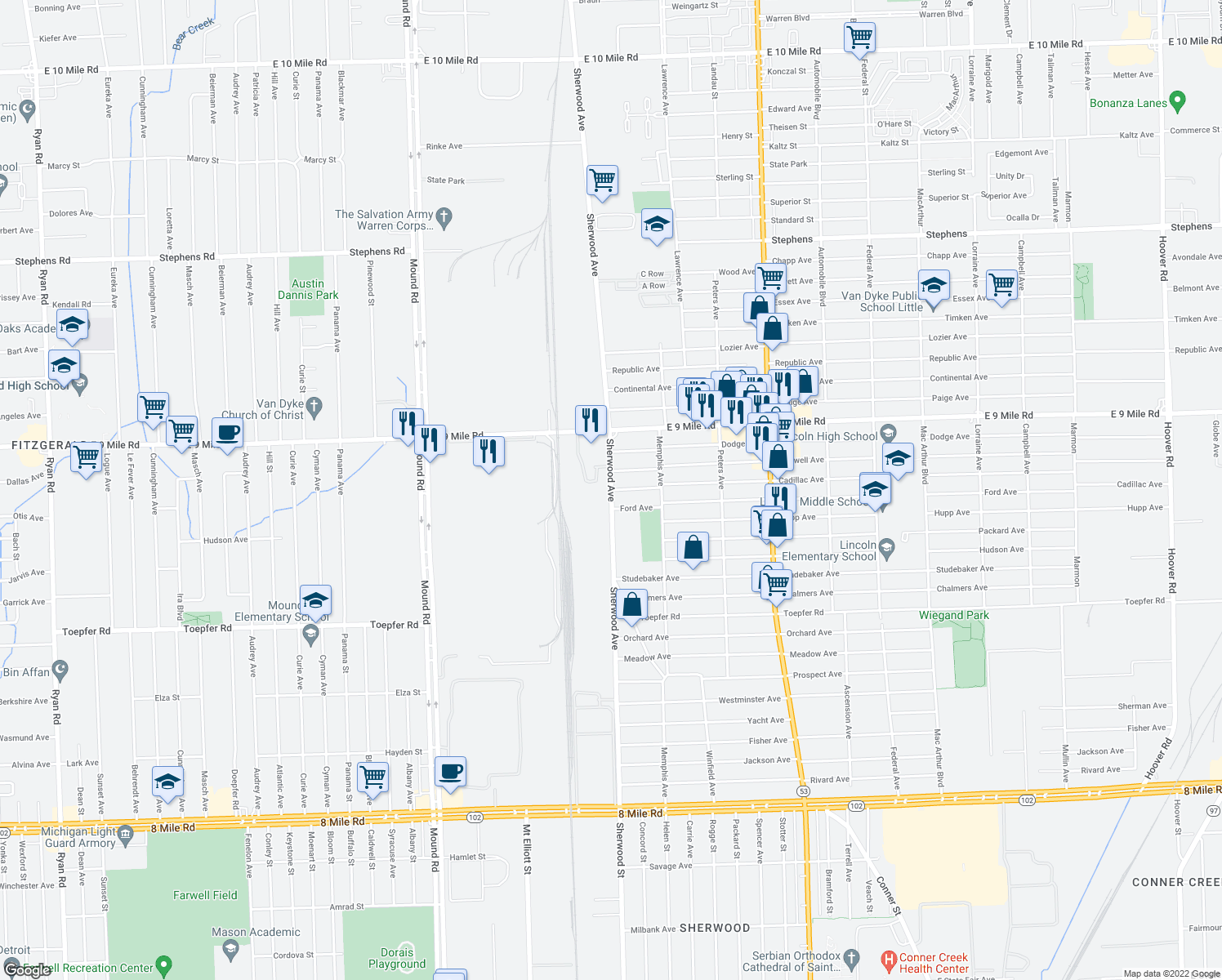 map of restaurants, bars, coffee shops, grocery stores, and more near Cadillac Ave in Warren