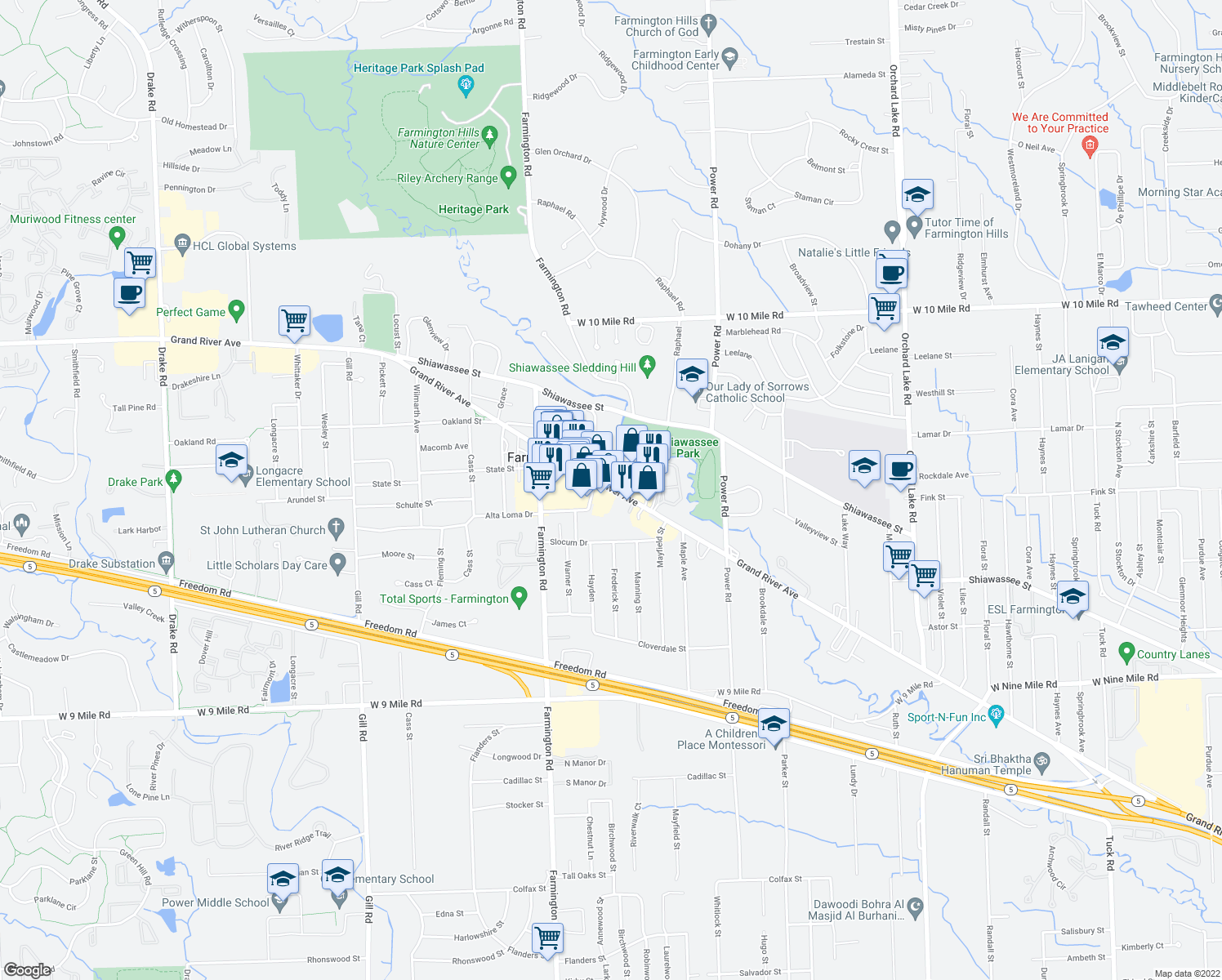 map of restaurants, bars, coffee shops, grocery stores, and more near 33021 Grand River Avenue in Farmington