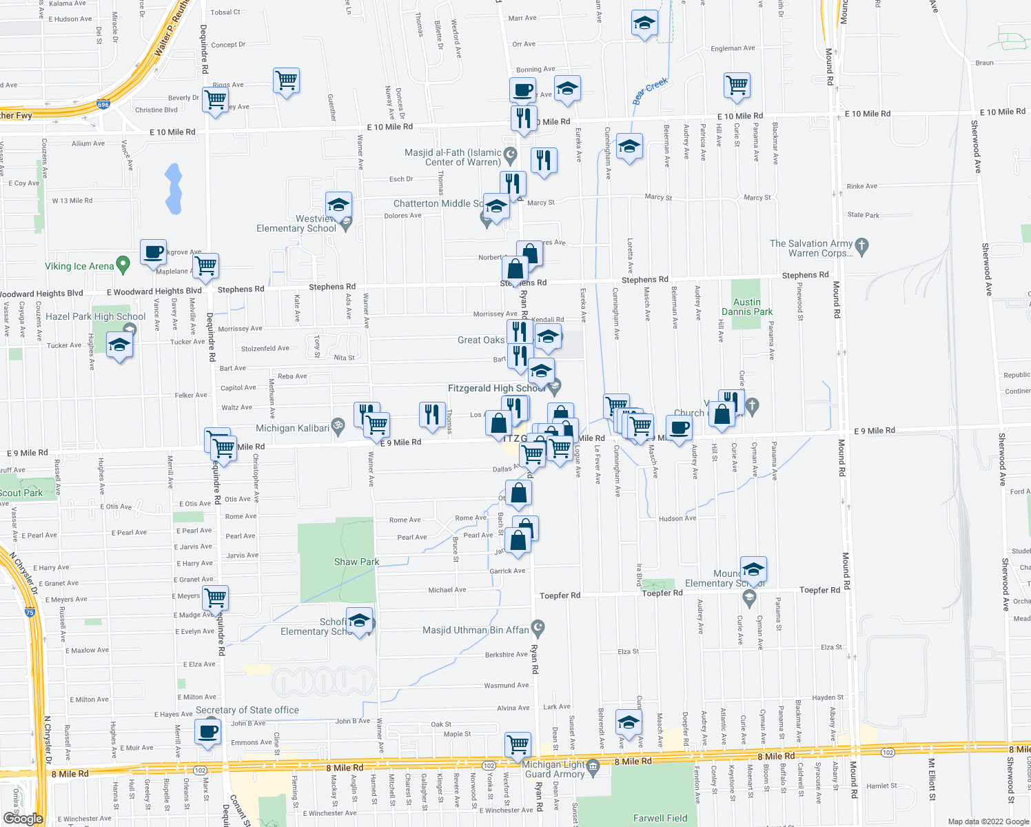 map of restaurants, bars, coffee shops, grocery stores, and more near 4031 Los Angeles Avenue in Warren