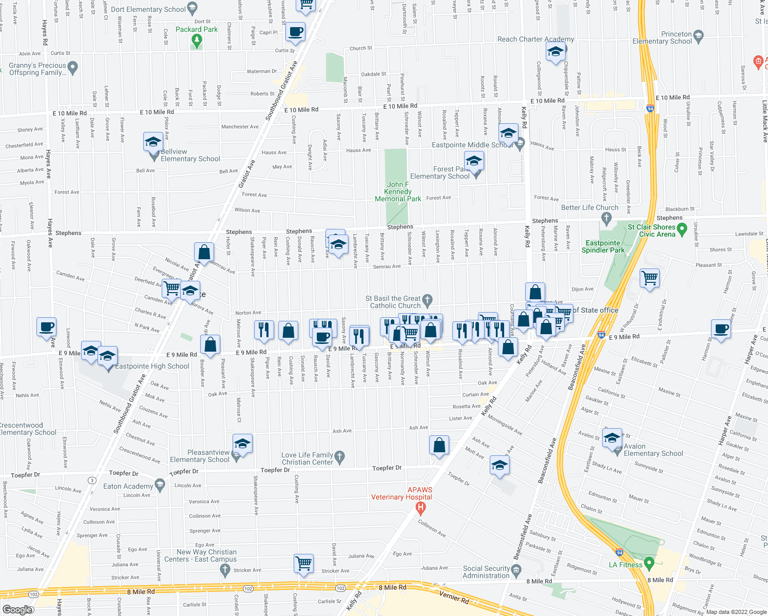 map of restaurants, bars, coffee shops, grocery stores, and more near Brittany Avenue in Eastpointe