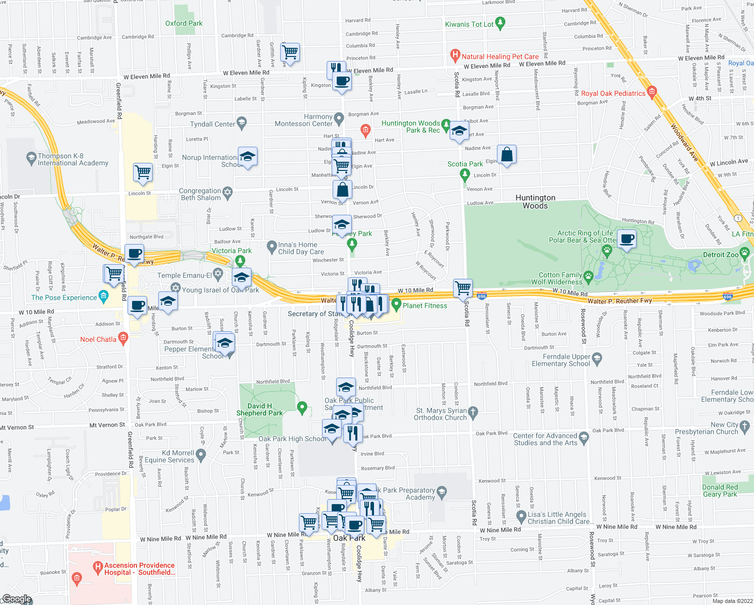map of restaurants, bars, coffee shops, grocery stores, and more near W 10 Mile Rd in Oak Park