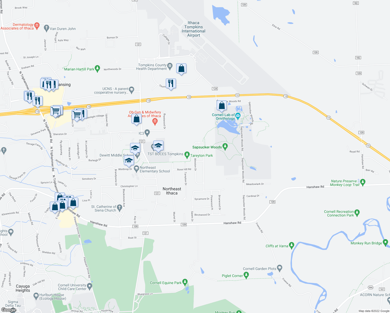 map of restaurants, bars, coffee shops, grocery stores, and more near Winston Dr & Winston Ct in Northeast Ithaca