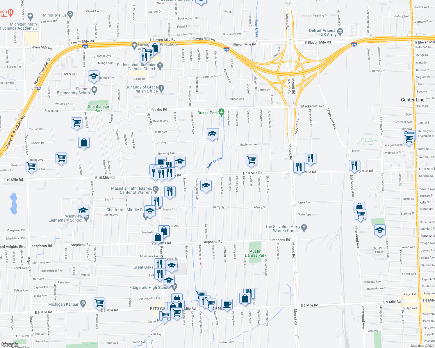 map of restaurants, bars, coffee shops, grocery stores, and more near 4801-4863 E 10 Mile Rd in Warren