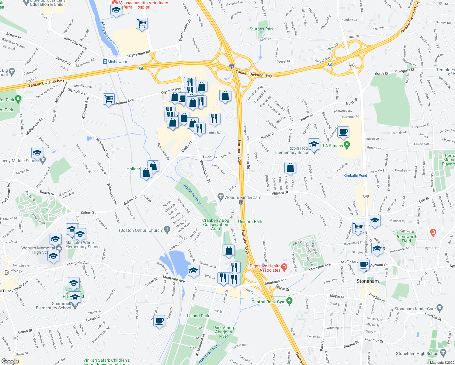 map of restaurants, bars, coffee shops, grocery stores, and more near 60 Mill Street in Woburn