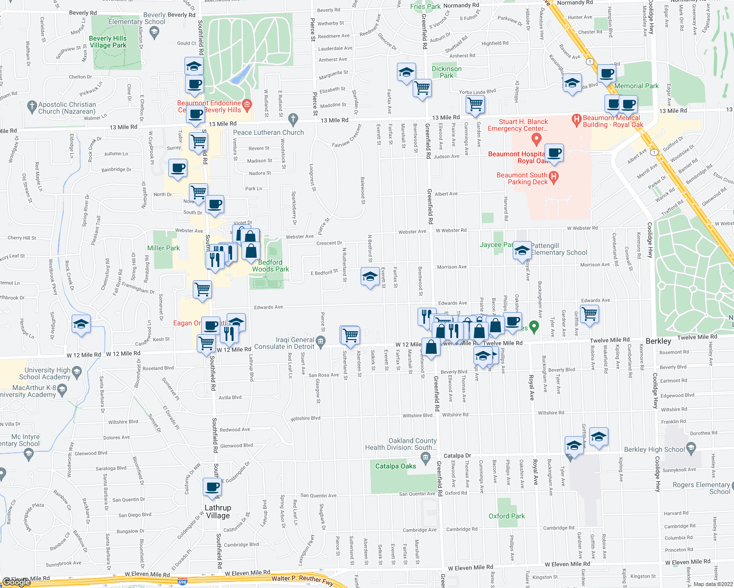 map of restaurants, bars, coffee shops, grocery stores, and more near 16100-16218 Edwards Avenue in Southfield