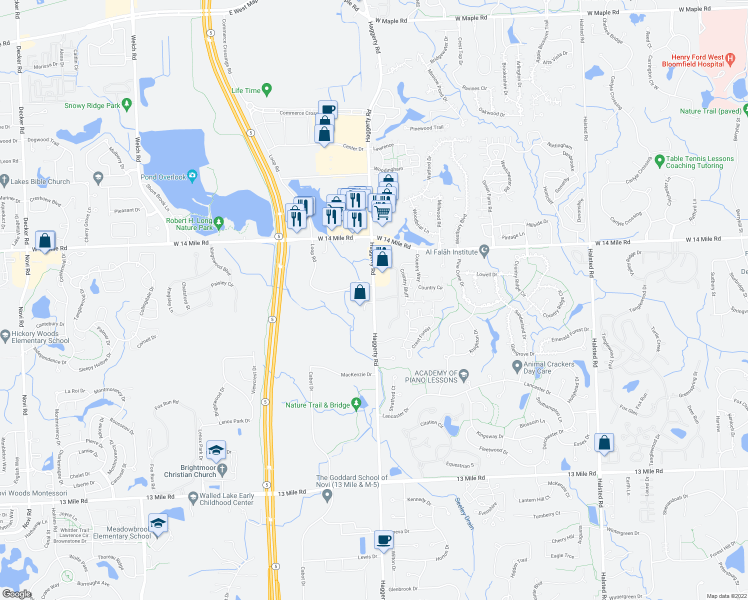 map of restaurants, bars, coffee shops, grocery stores, and more near Haggerty Rd & Village Green Blvd in Novi