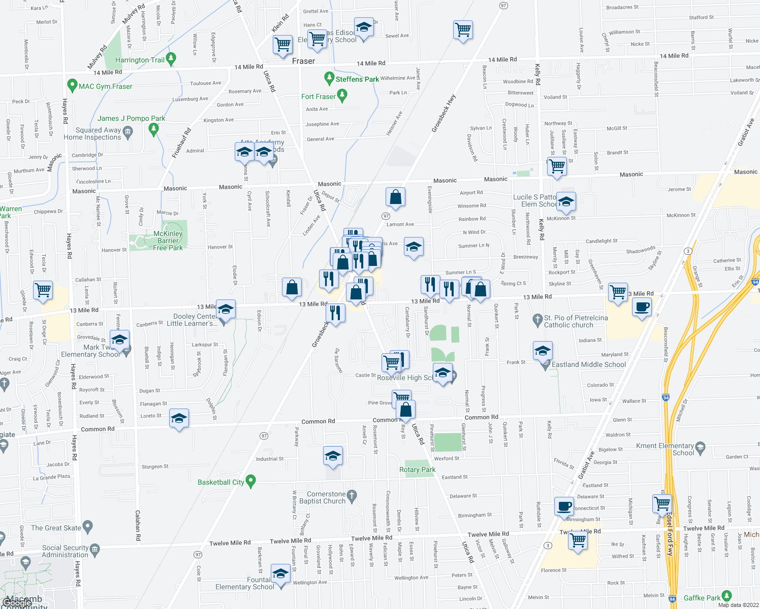 map of restaurants, bars, coffee shops, grocery stores, and more near 17001-17199 Dawn Street in Roseville