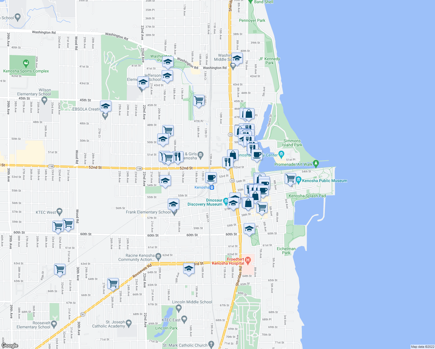 map of restaurants, bars, coffee shops, grocery stores, and more near 1021 52nd Street in Kenosha