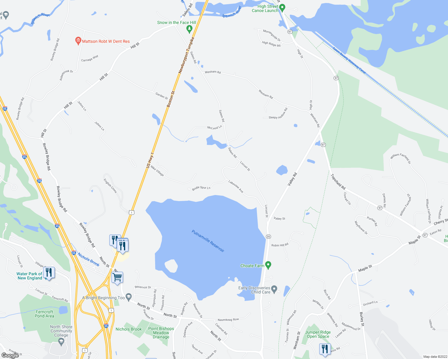 map of restaurants, bars, coffee shops, grocery stores, and more near 11 Bridle Spur Lane in Danvers
