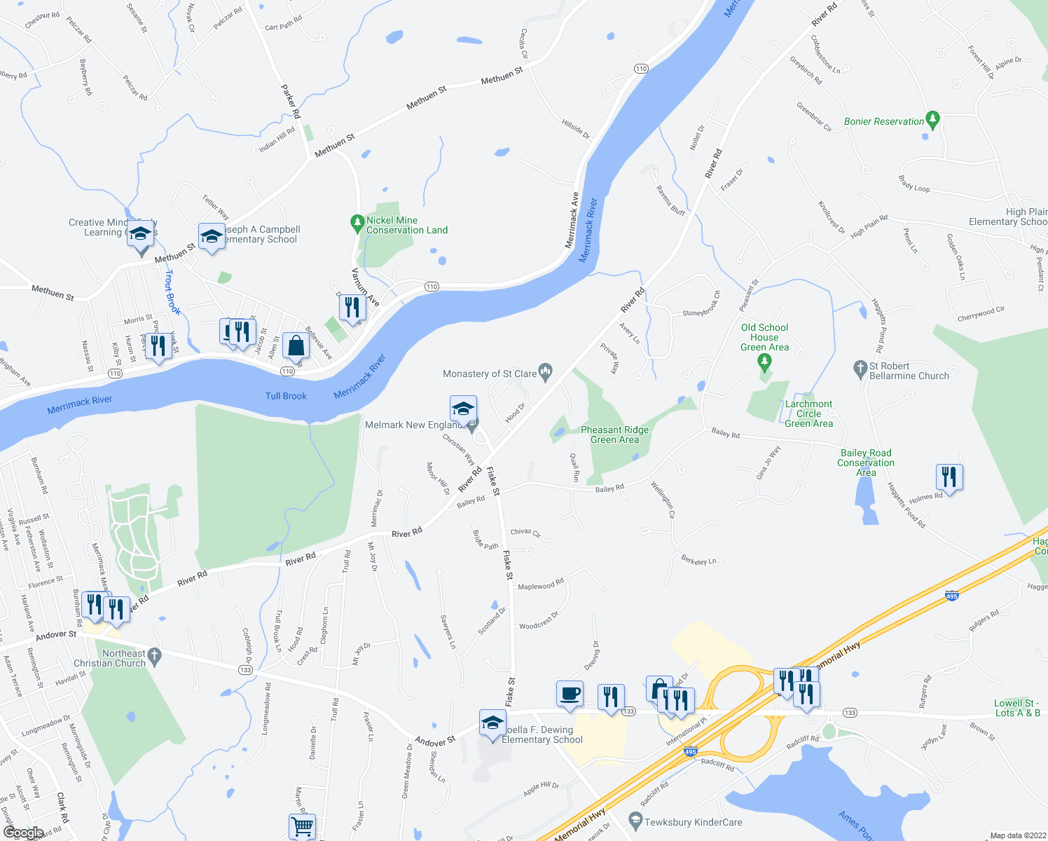 map of restaurants, bars, coffee shops, grocery stores, and more near 460 River Rd in Andover