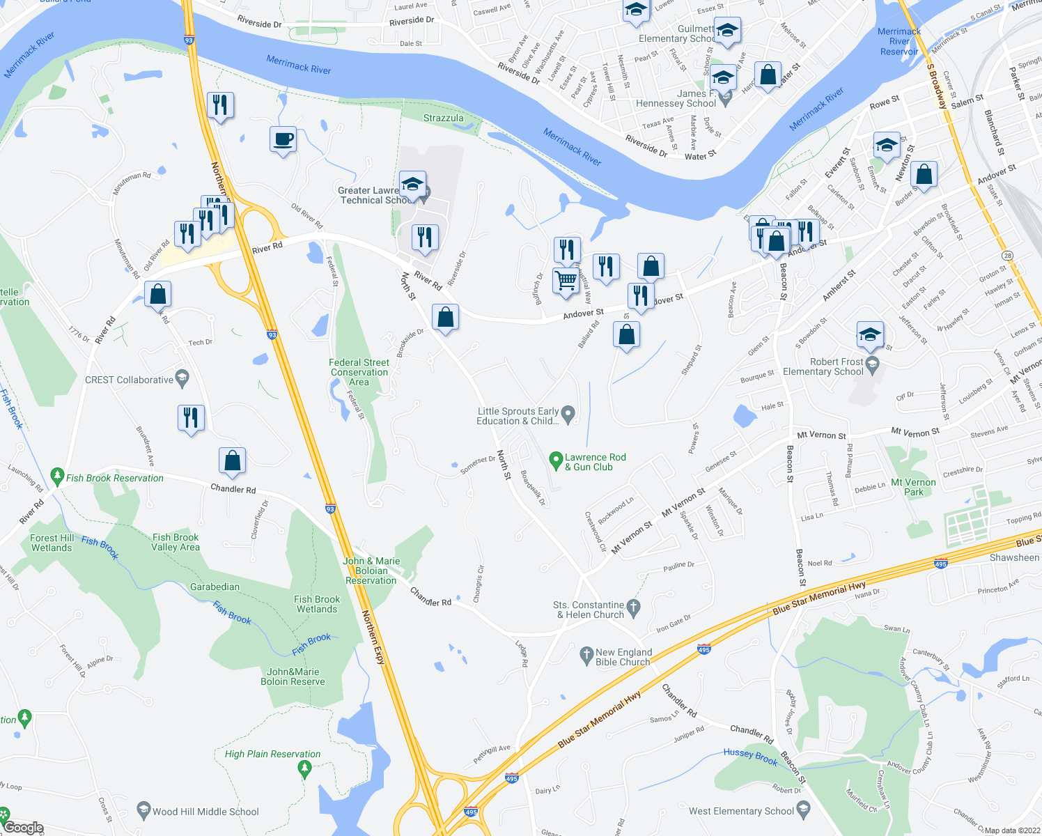 map of restaurants, bars, coffee shops, grocery stores, and more near 5-9 Webster Street in Andover