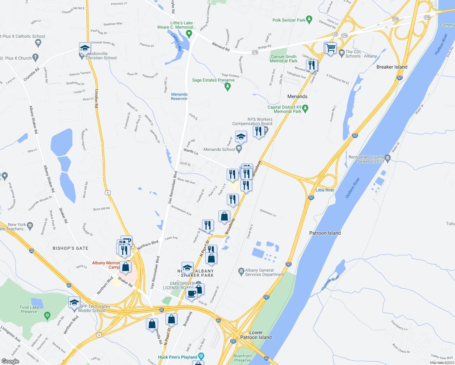 map of restaurants, bars, coffee shops, grocery stores, and more near 11 Park Lane East in Menands