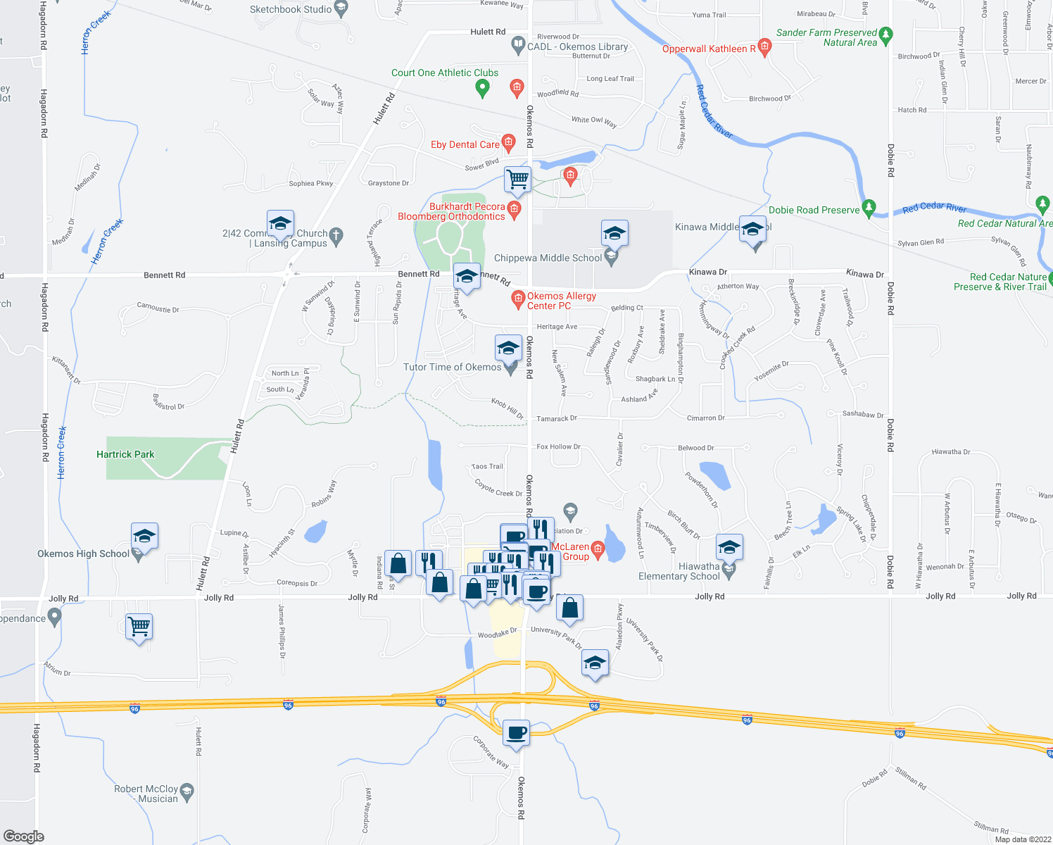 map of restaurants, bars, coffee shops, grocery stores, and more near 2317 Knob Hill Dr in Meridian Charter Township