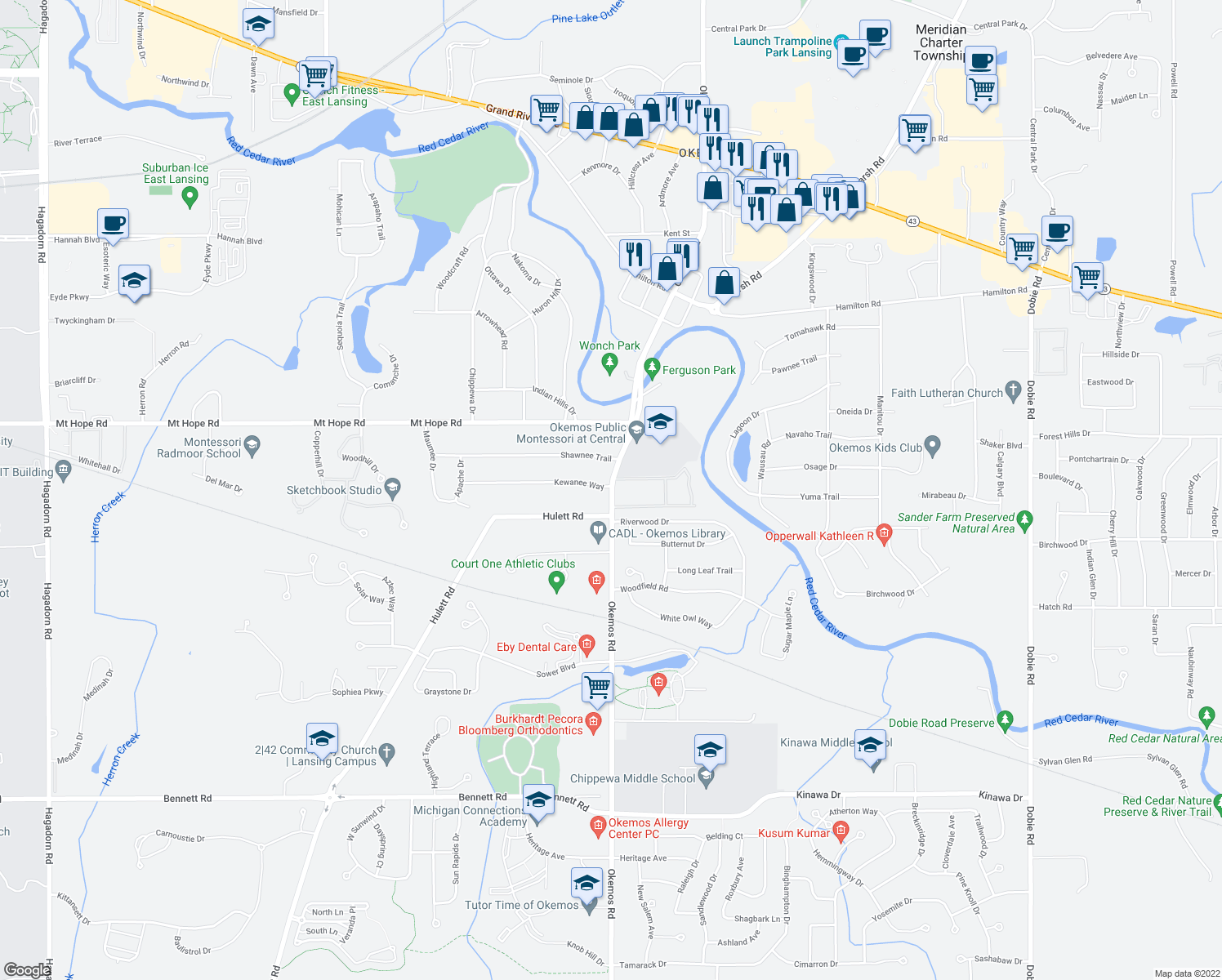 map of restaurants, bars, coffee shops, grocery stores, and more near None in Meridian Charter Township