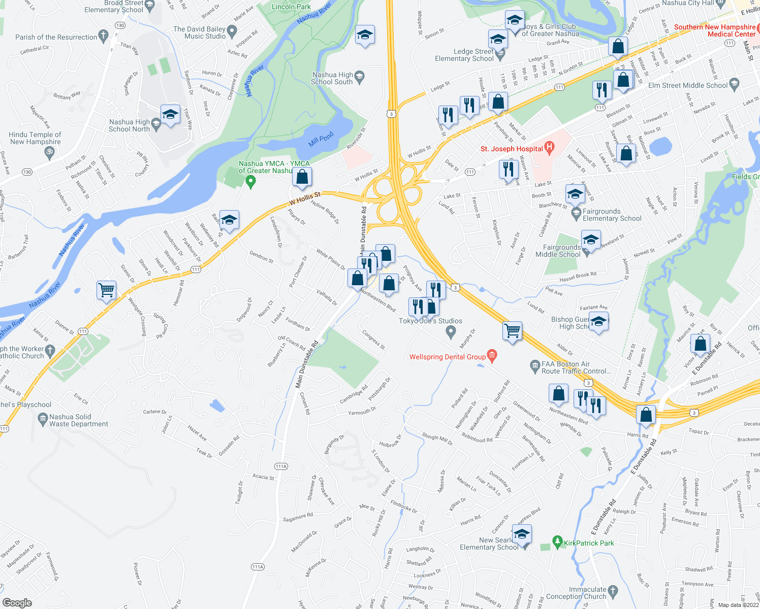 map of restaurants, bars, coffee shops, grocery stores, and more near 6-29 Congress St in Nashua