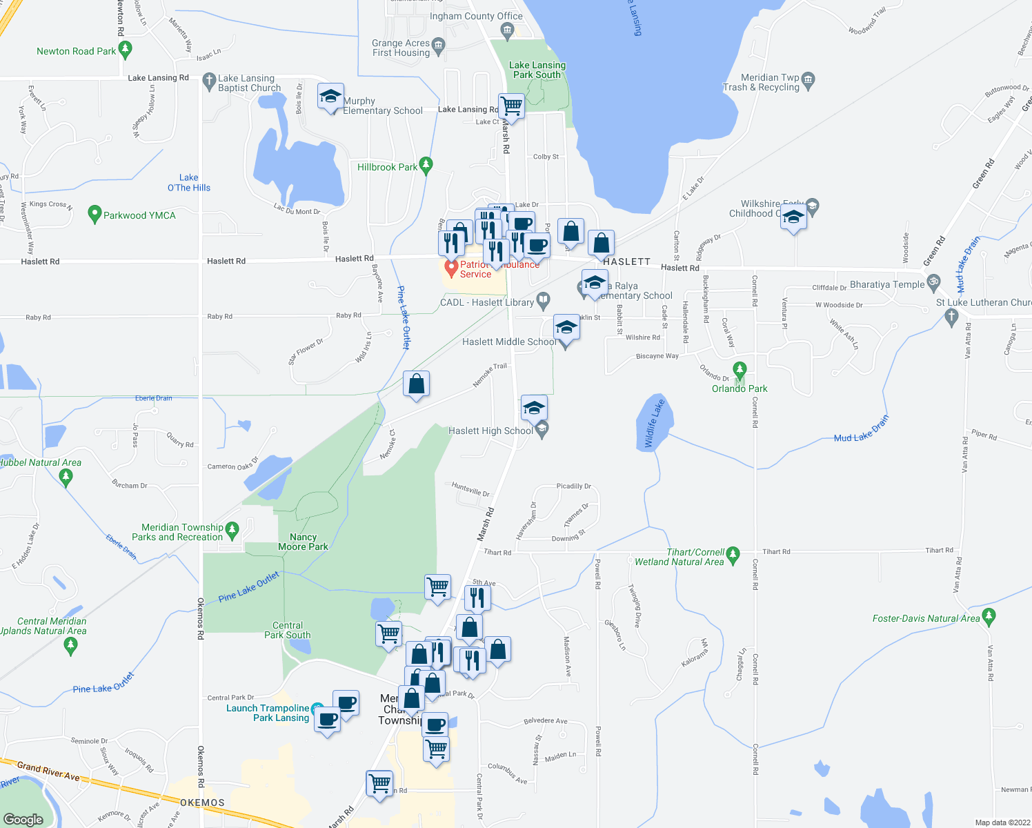 map of restaurants, bars, coffee shops, grocery stores, and more near 5475 Marsh Rd in Meridian Charter Township