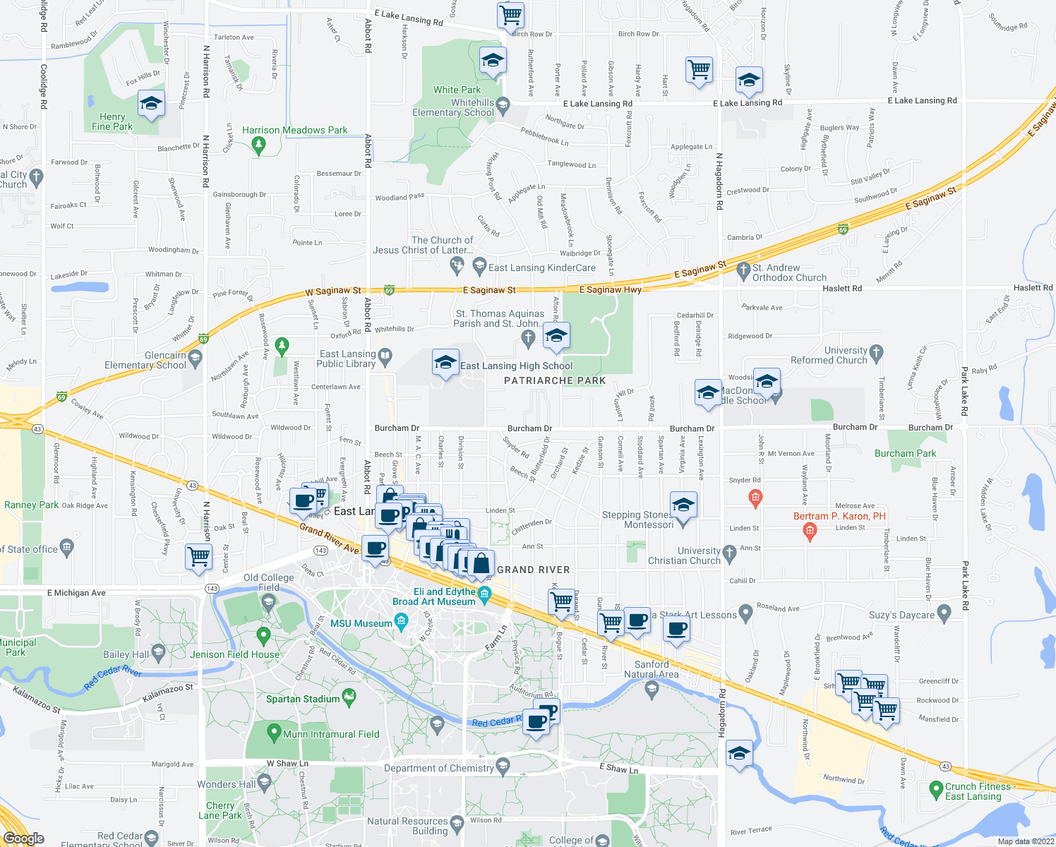 map of restaurants, bars, coffee shops, grocery stores, and more near 731 Burcham Drive in East Lansing